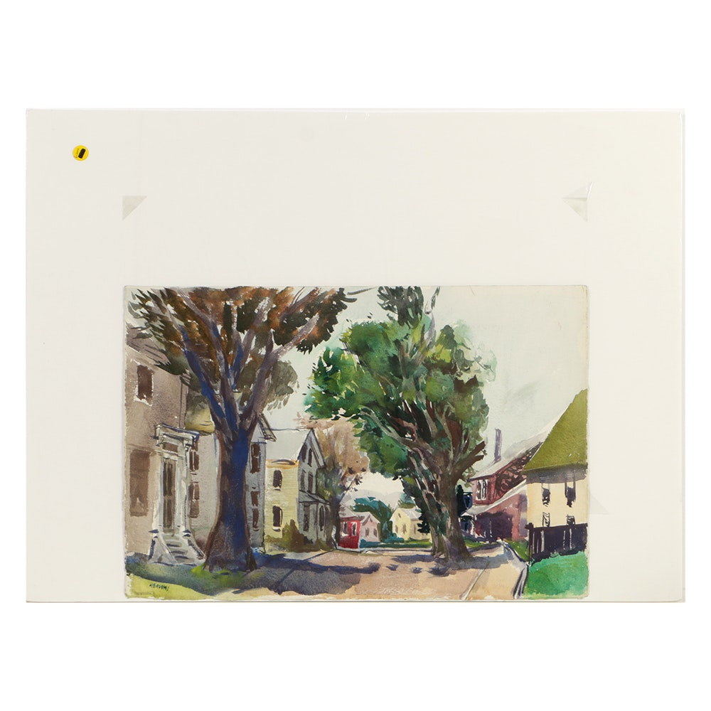 Reginald Leslie Grooms Watercolor on Paper Suburban Landscape