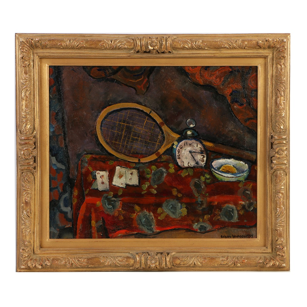 "Edgar Yaeger Oil Painting on Canvas ""Still Life with Racket and Playing Cards"""