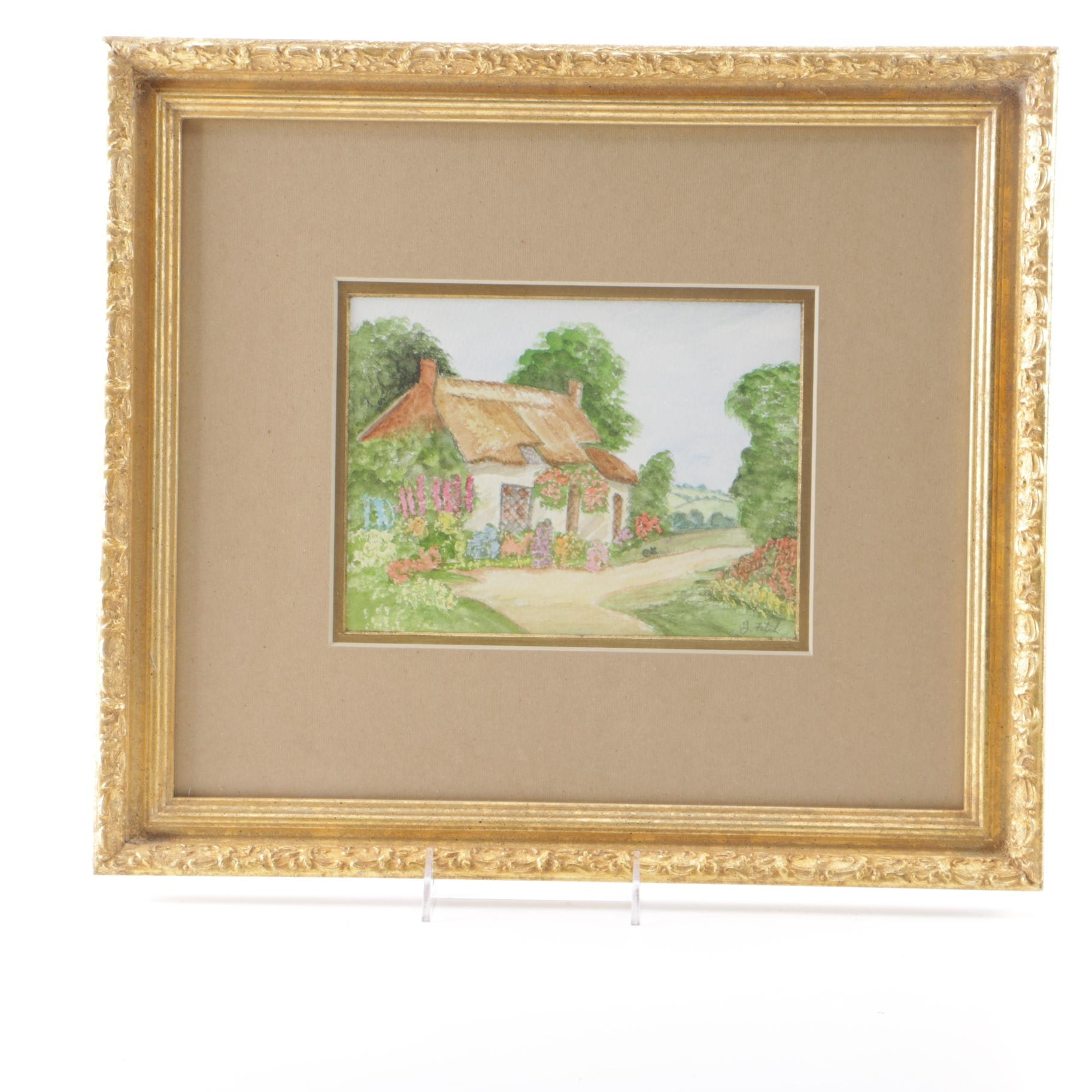 """Zoe Fitch Watercolor """"English Cottage"""""""