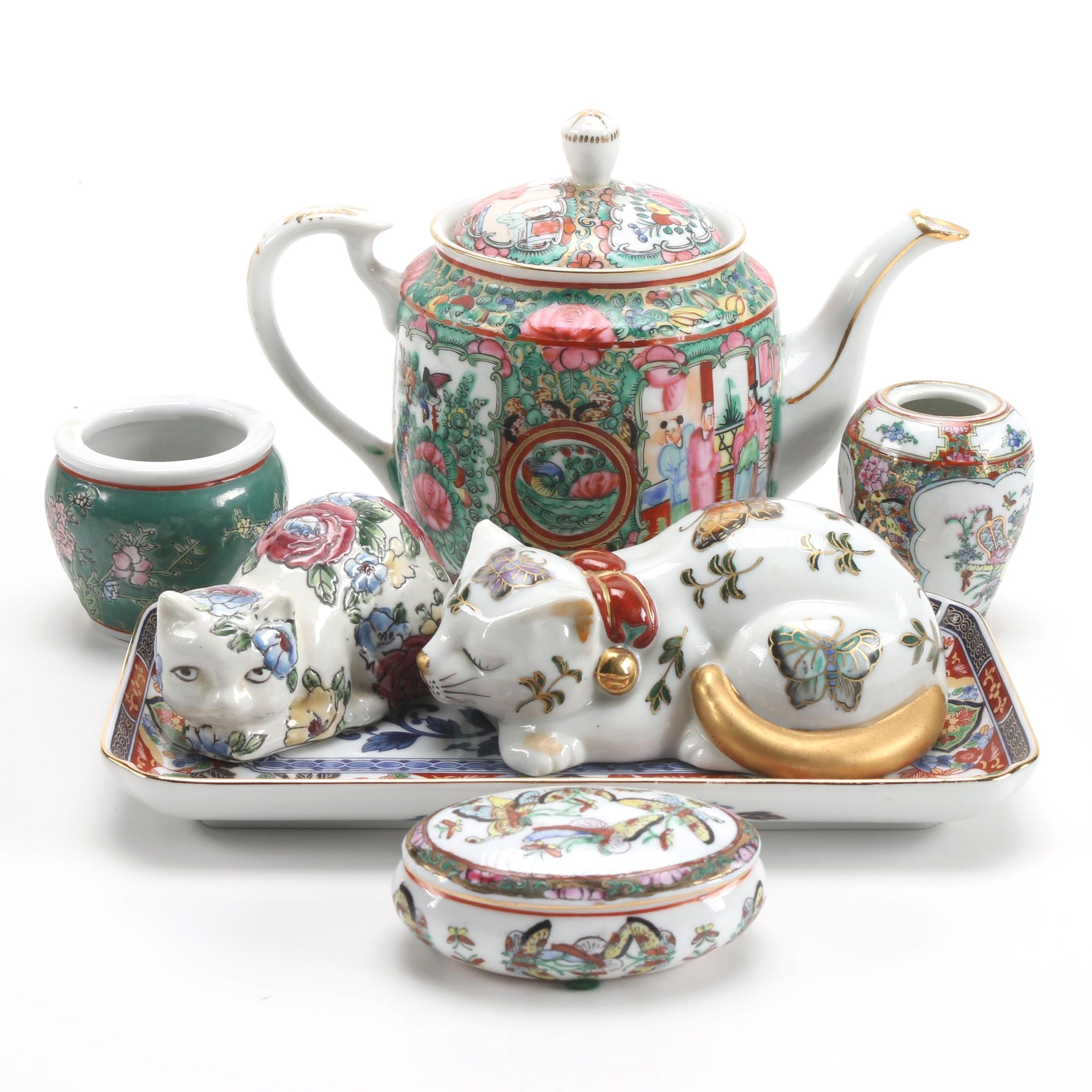 Chinese and Japanese Porcelain Décor Featuring Rose Medallion Teapot