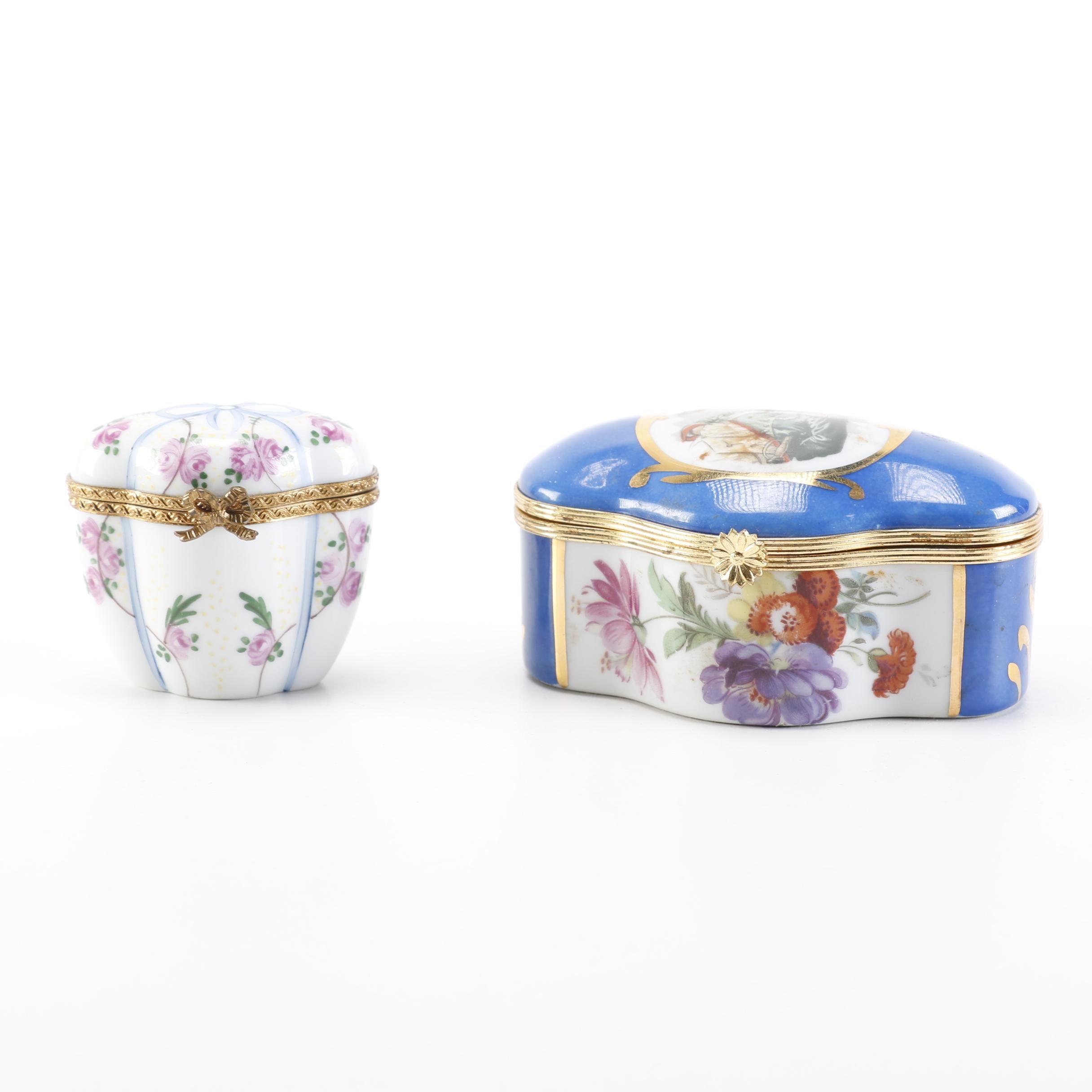 Pair of Limoges Porcelain Trinket Boxes