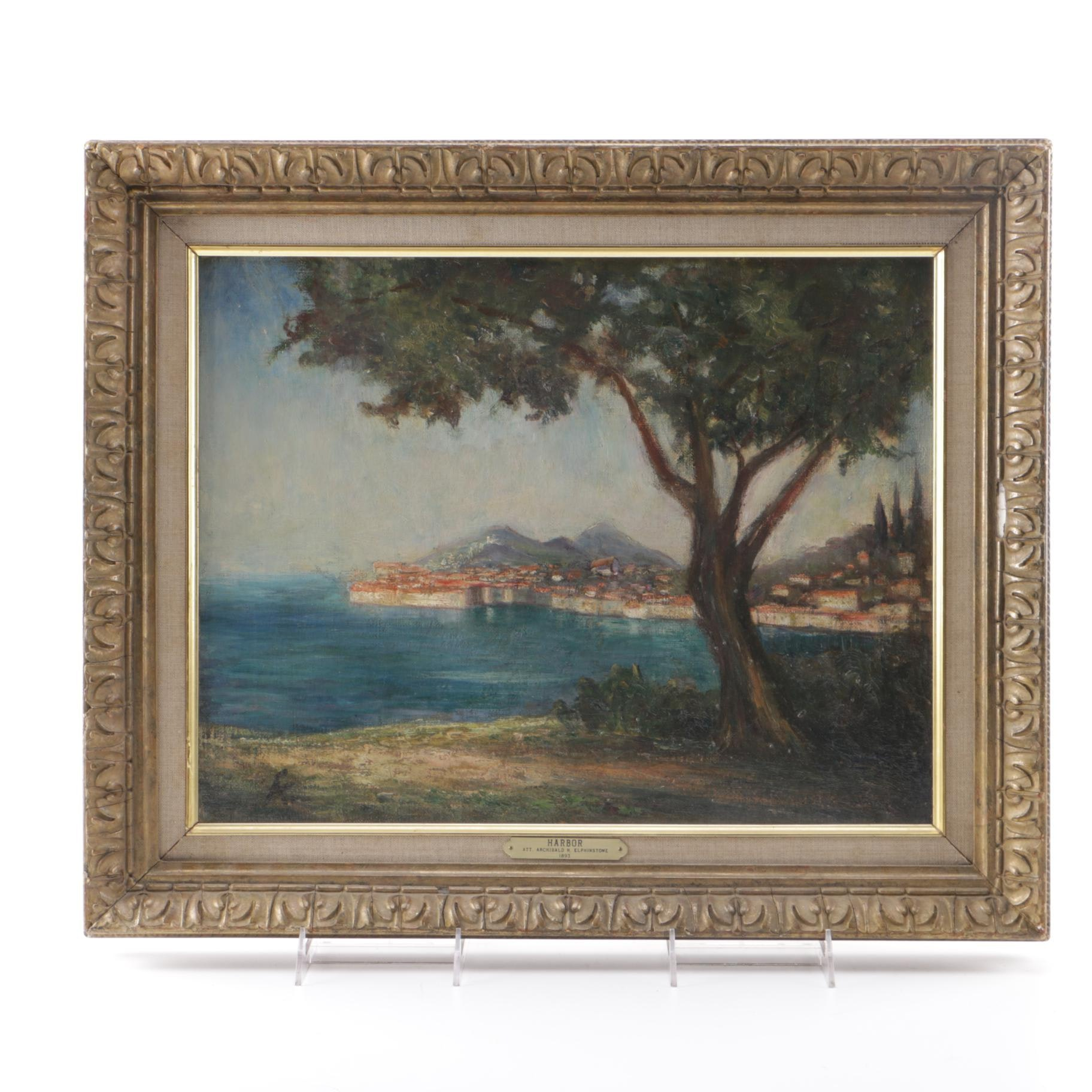 """1893 Attributed to Archibald Elphinstone Oil Painting on Canvas """"Harbor"""""""
