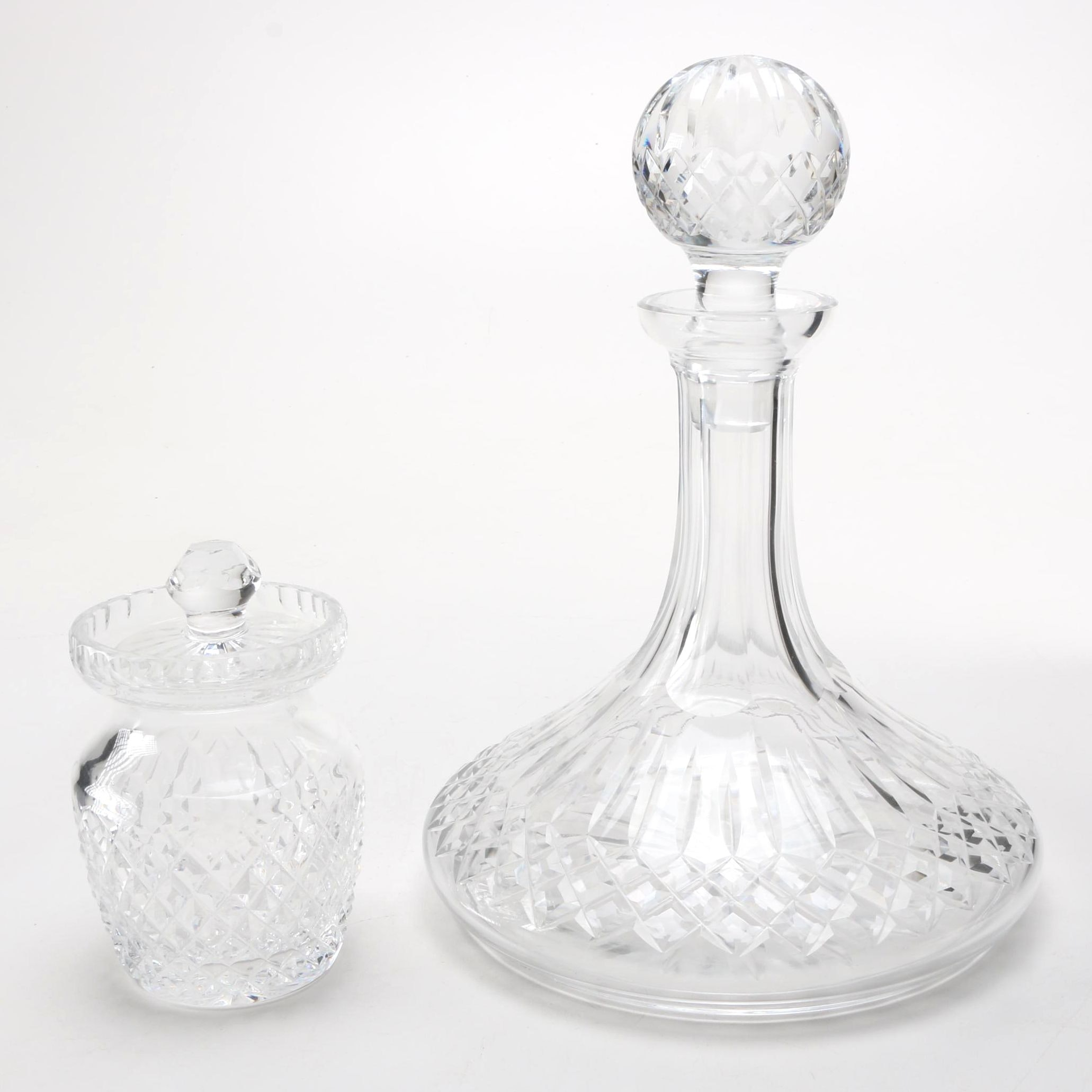 Waterford Crystal Decanter and Lidded Jar