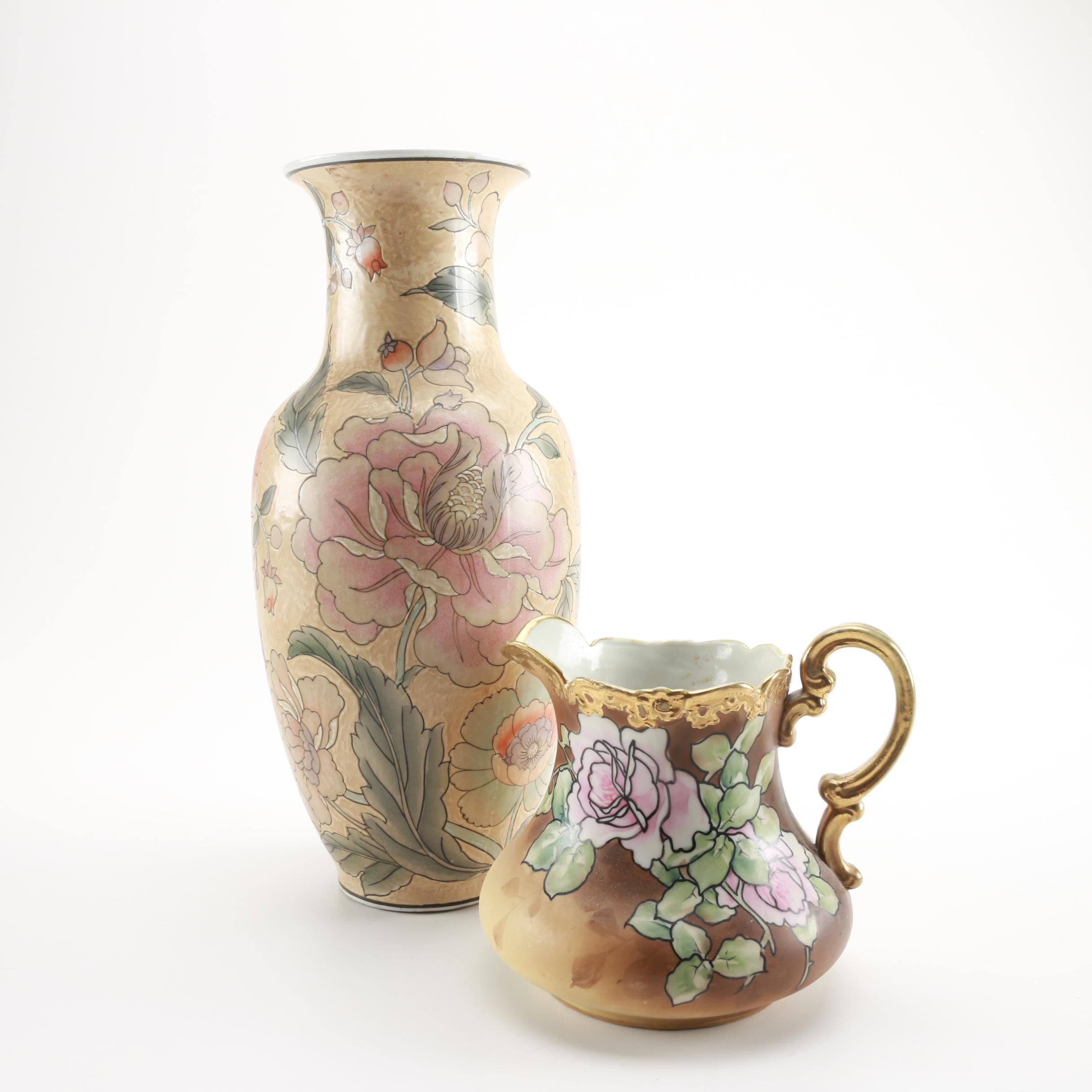 Ceramic Vase and Nippon Porcelain Pitcher with Floral Designs