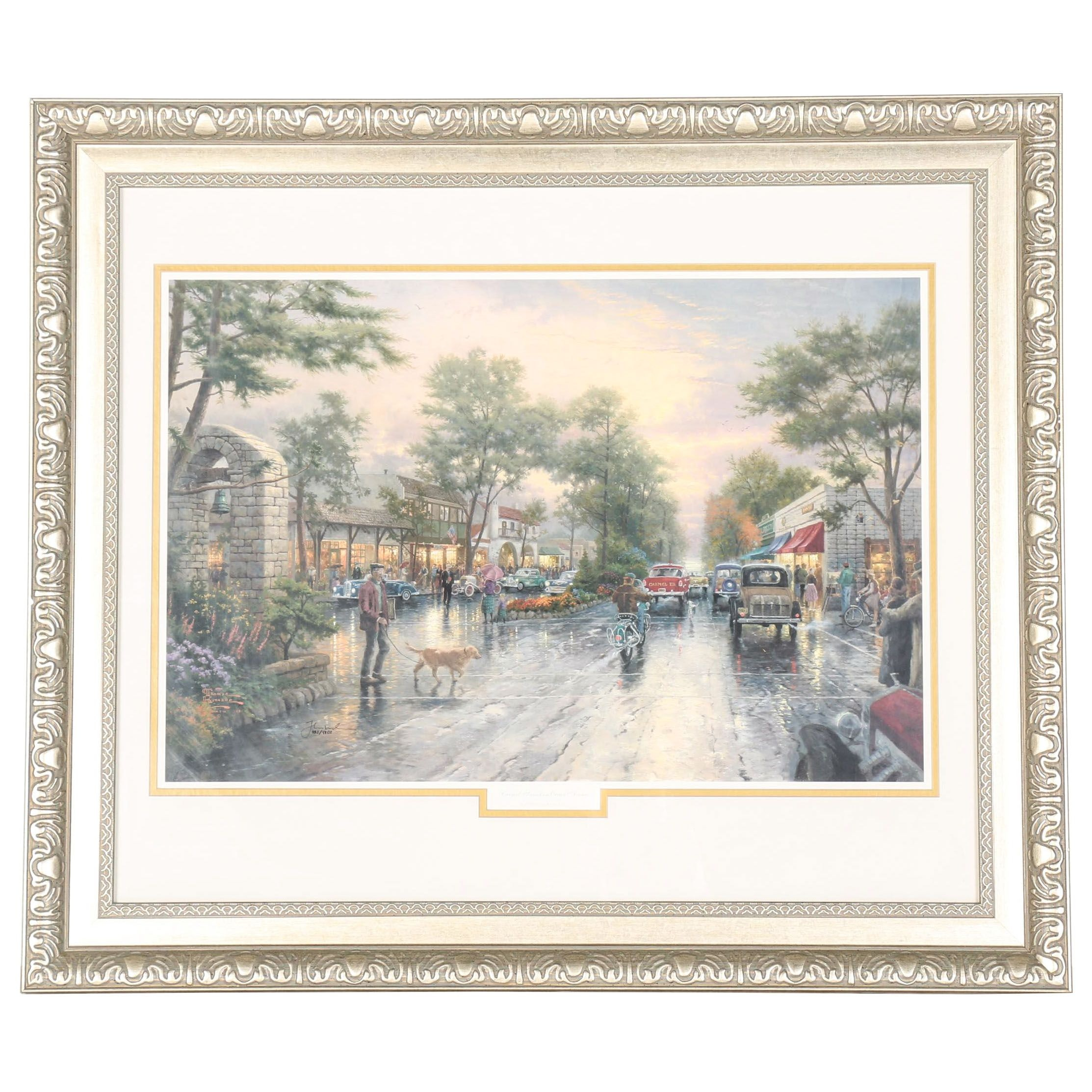 """Carmel Sunset On Ocean Avenue"" By Thomas Kinkaide Offset Lithograph"
