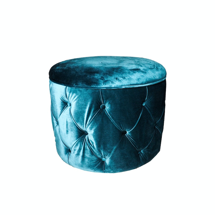 Peachy Turquoise Velvet Storage Ottoman Ocoug Best Dining Table And Chair Ideas Images Ocougorg
