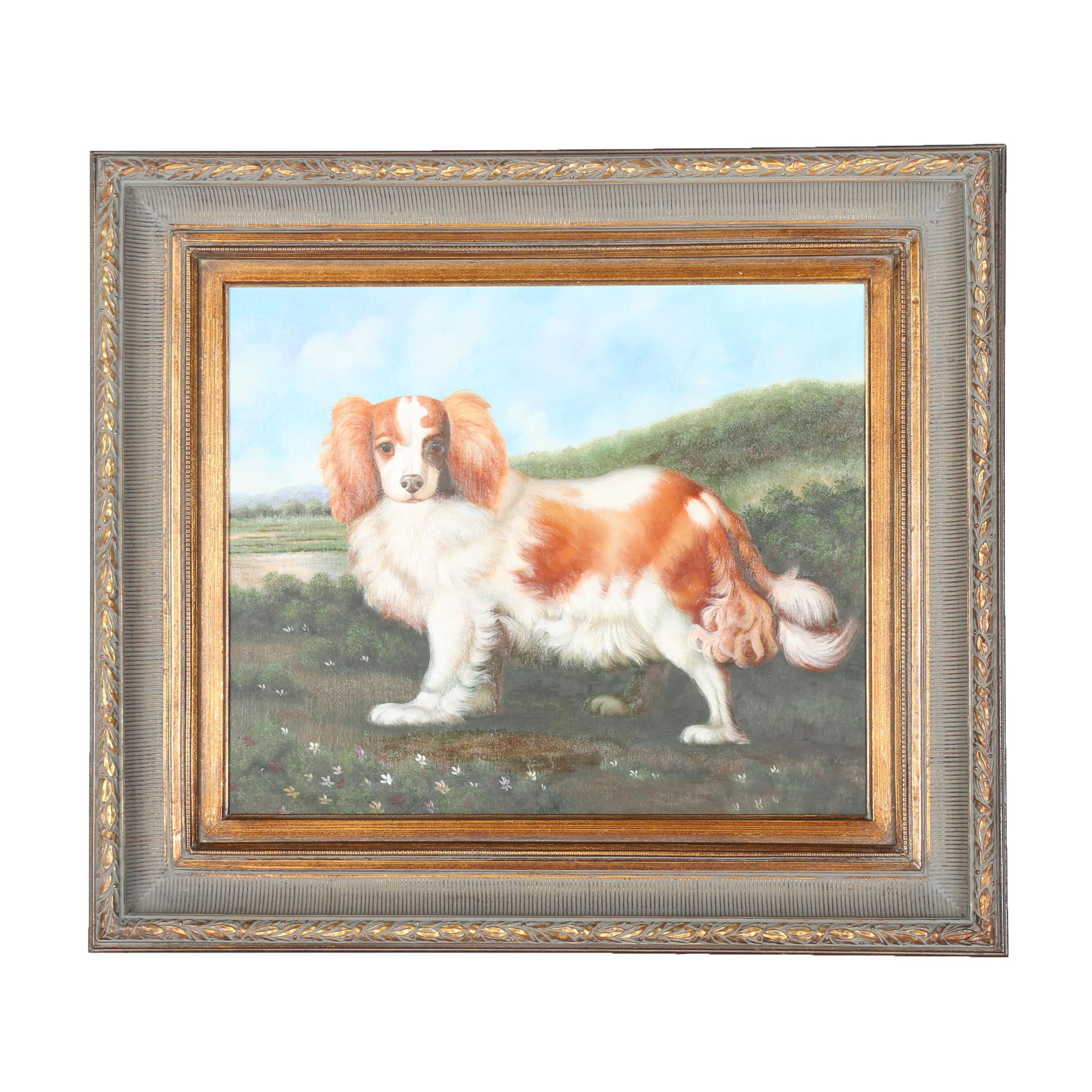 Original Oil On Canvas Painting Of A Spaniel