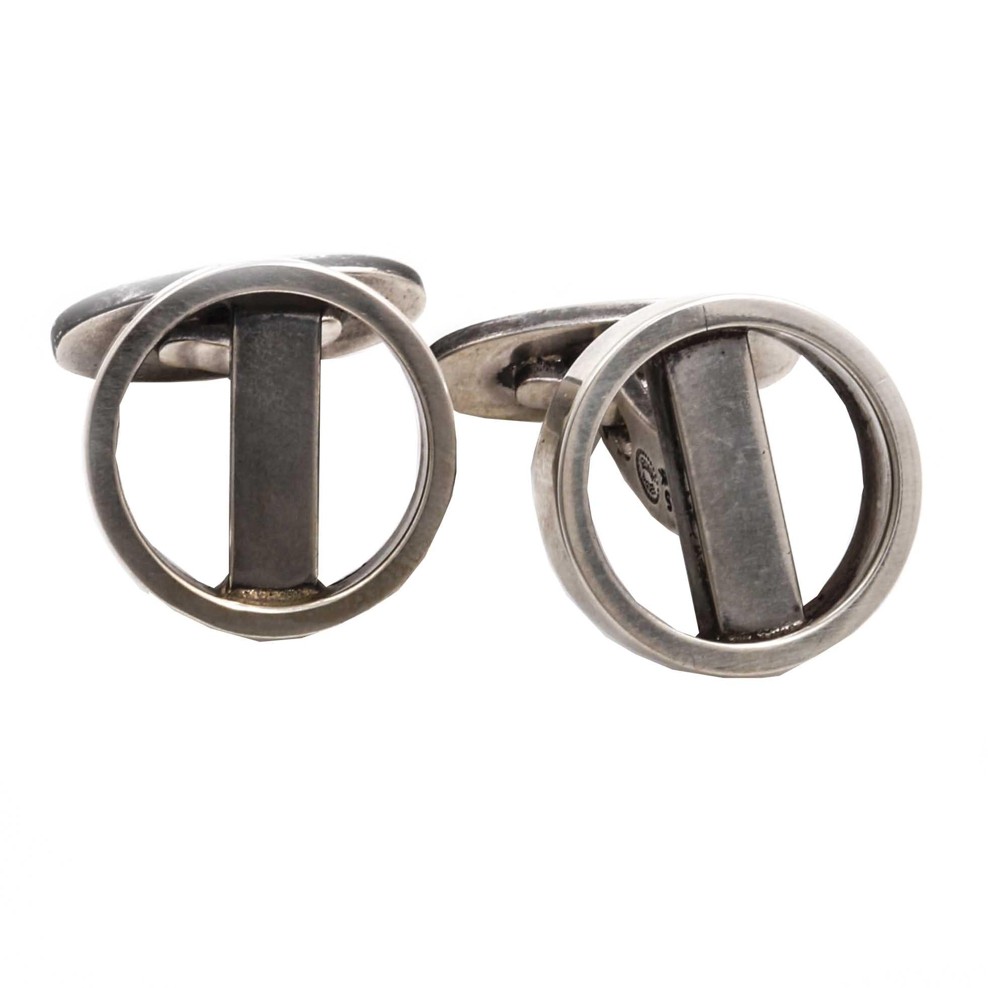 Circa 1915-1919 Georg Jensen Danish Sterling Silver #91 Modernist Cufflinks