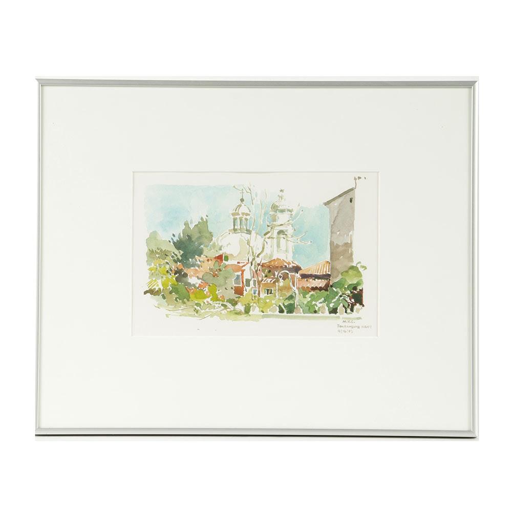 "Mignonette Yin Cheng Watercolor Painting on Paper ""Fontamenta Nani"""
