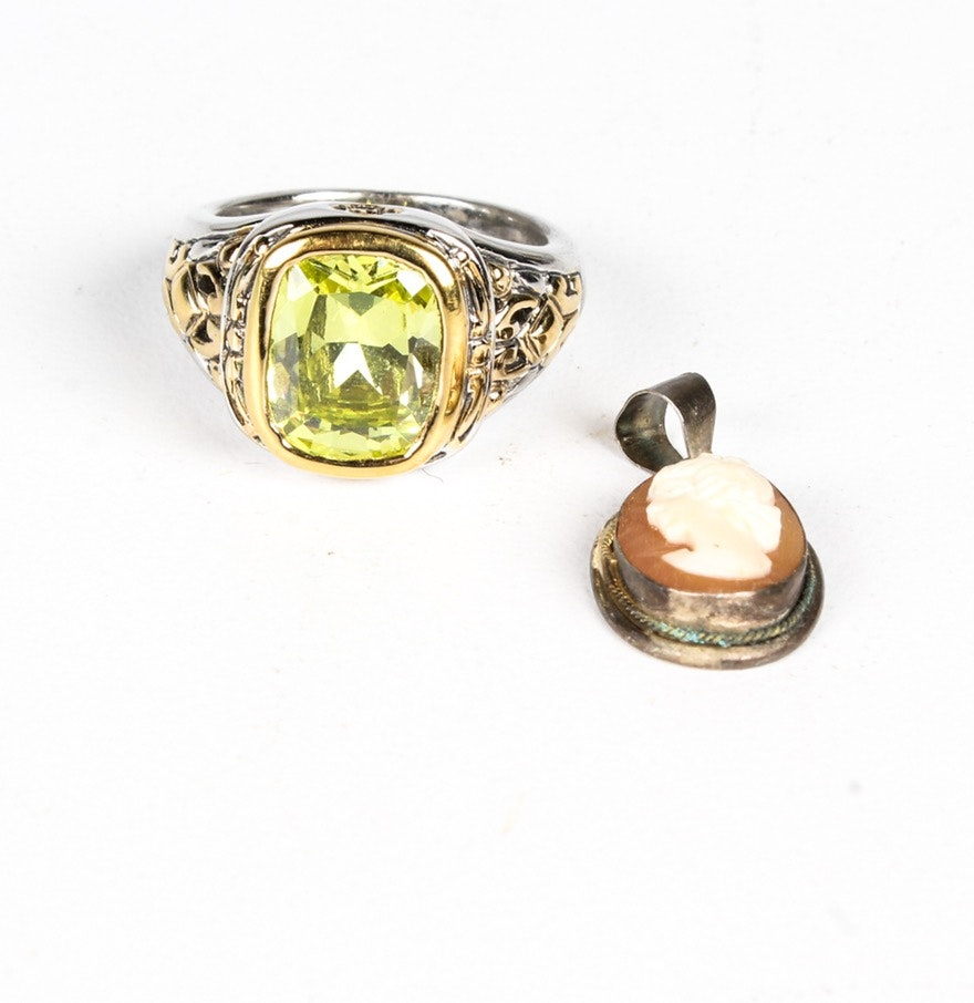 Sterling Silver and Imitation Peridot Ring with Shell Cameo Pendant