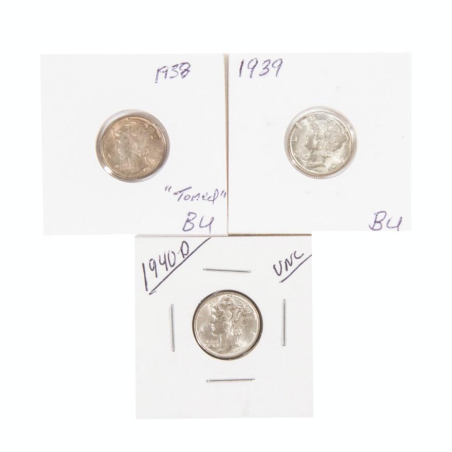 Mercury Silver Dimes 1938 1939 1940-D