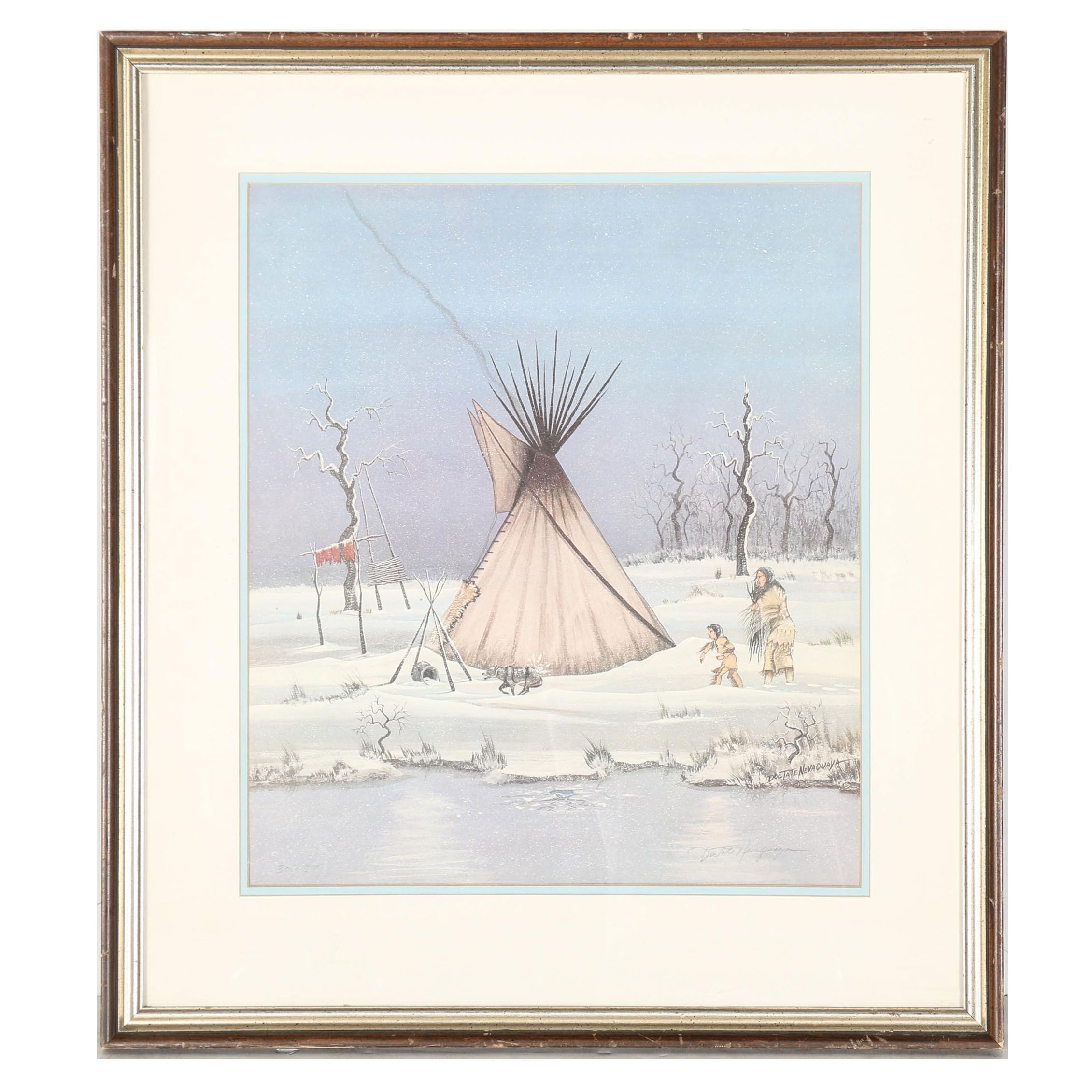 """Doc Tate Nevaquaya Limited Edition Offset Lithograph """"First Winter"""""""