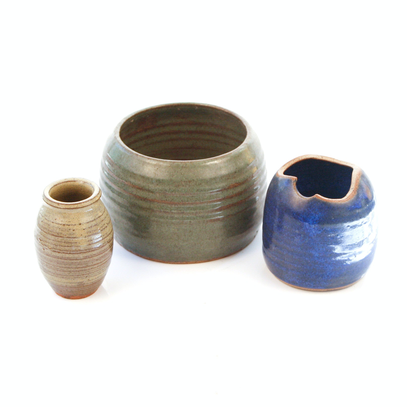 Group of Wheel Thrown Stoneware Vessels