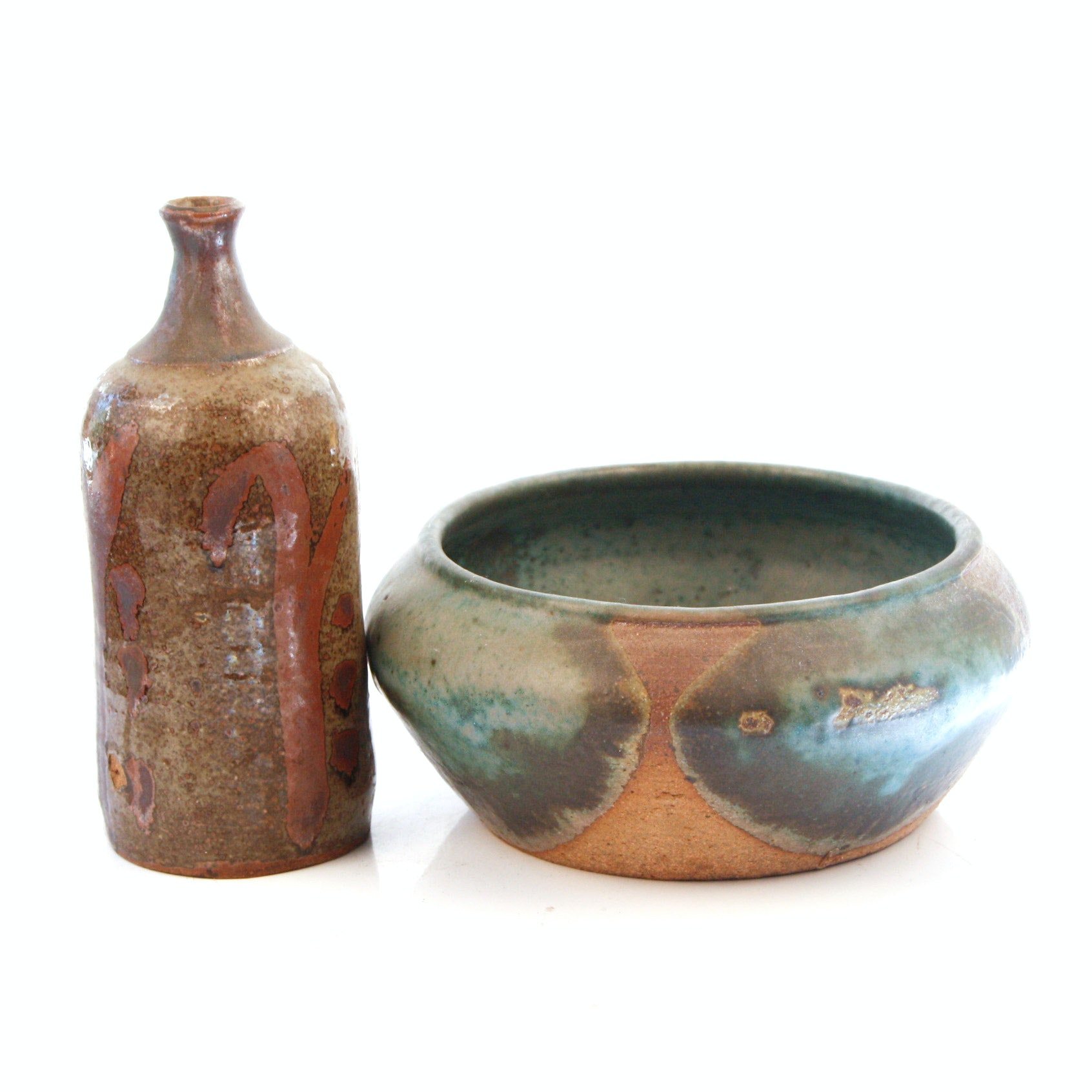 Pairing of Hand Thrown Stoneware Pottery Vessels