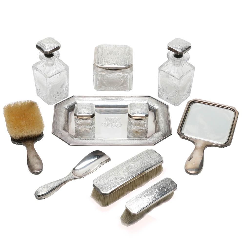 Extensive Vintage Hawkes Crystal and Gorham Silver Vanity Set