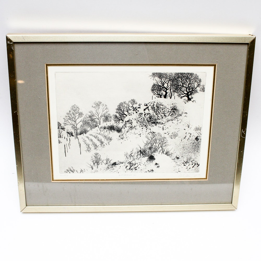 """Peter W. Milton Limited Edition Etching """"Winterscape VI"""""""