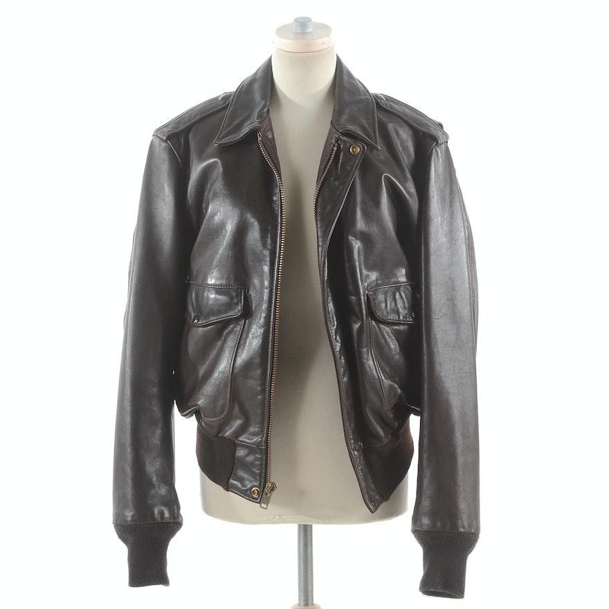 04de6bdfc731 Vintage Schott Men s Leather Bomber Jacket with Faux Fur Trim   EBTH