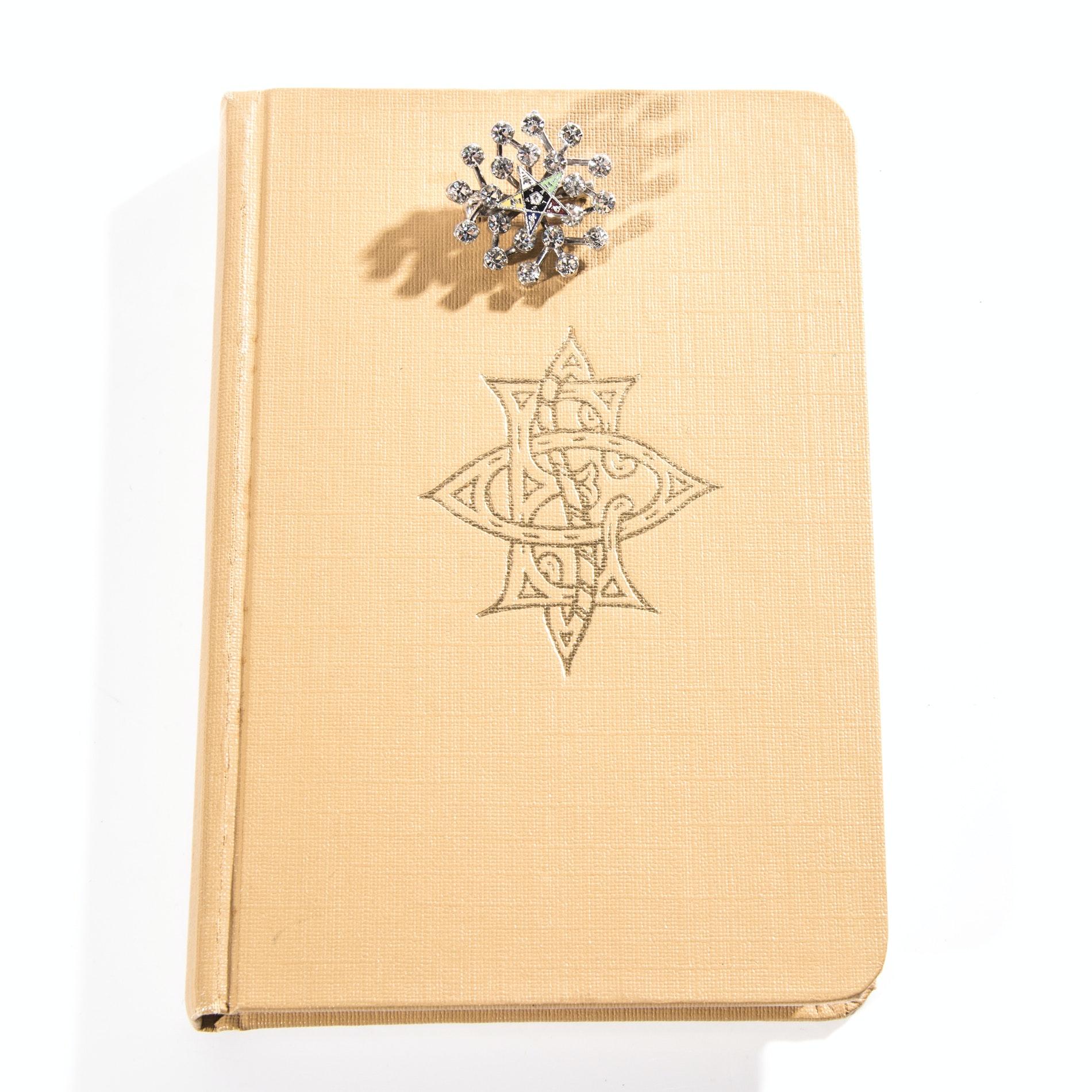 Order of the Eastern Star Handbook and Rhinestone Brooch