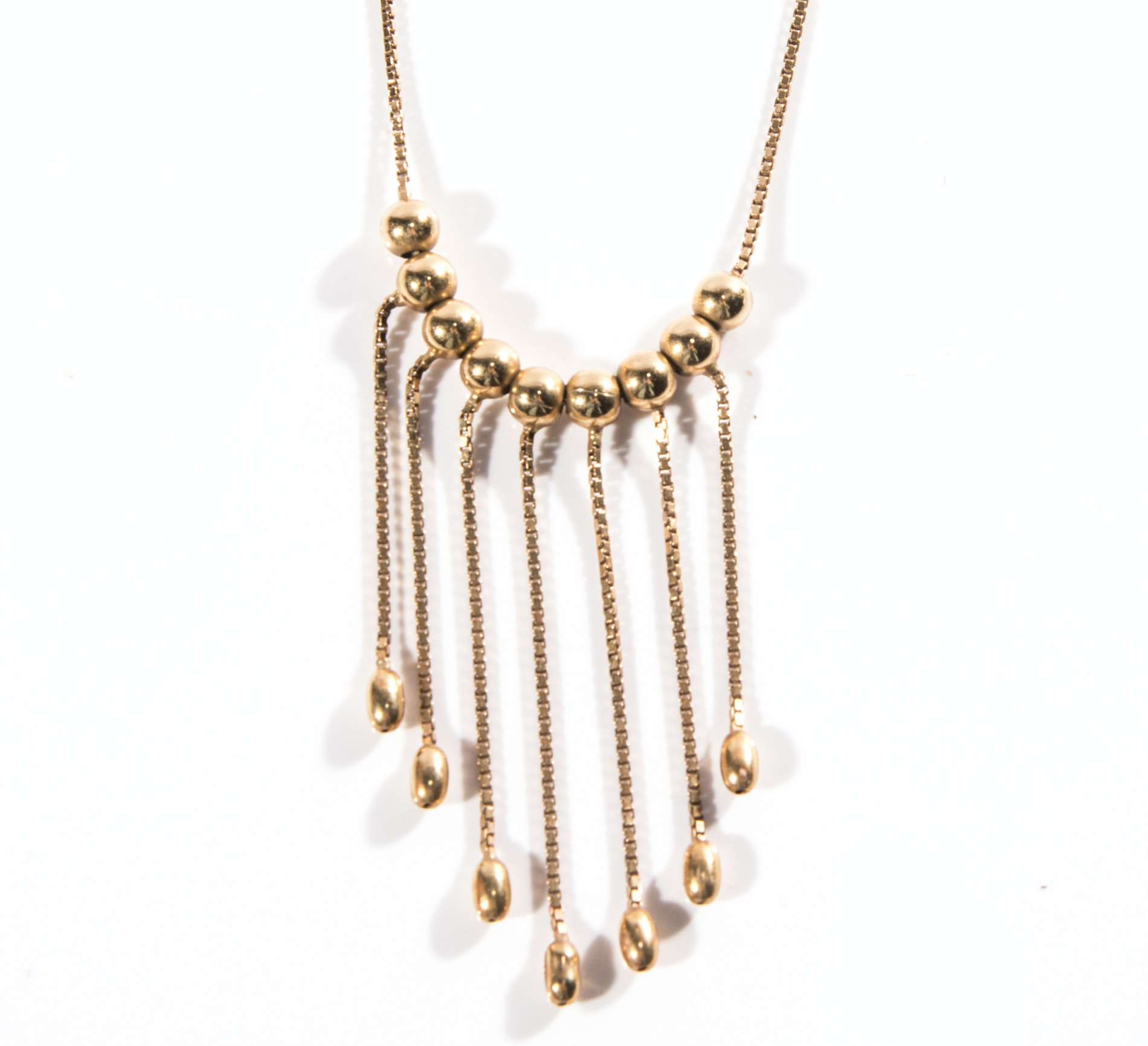 18K Yellow Gold Dangle Bead Necklace