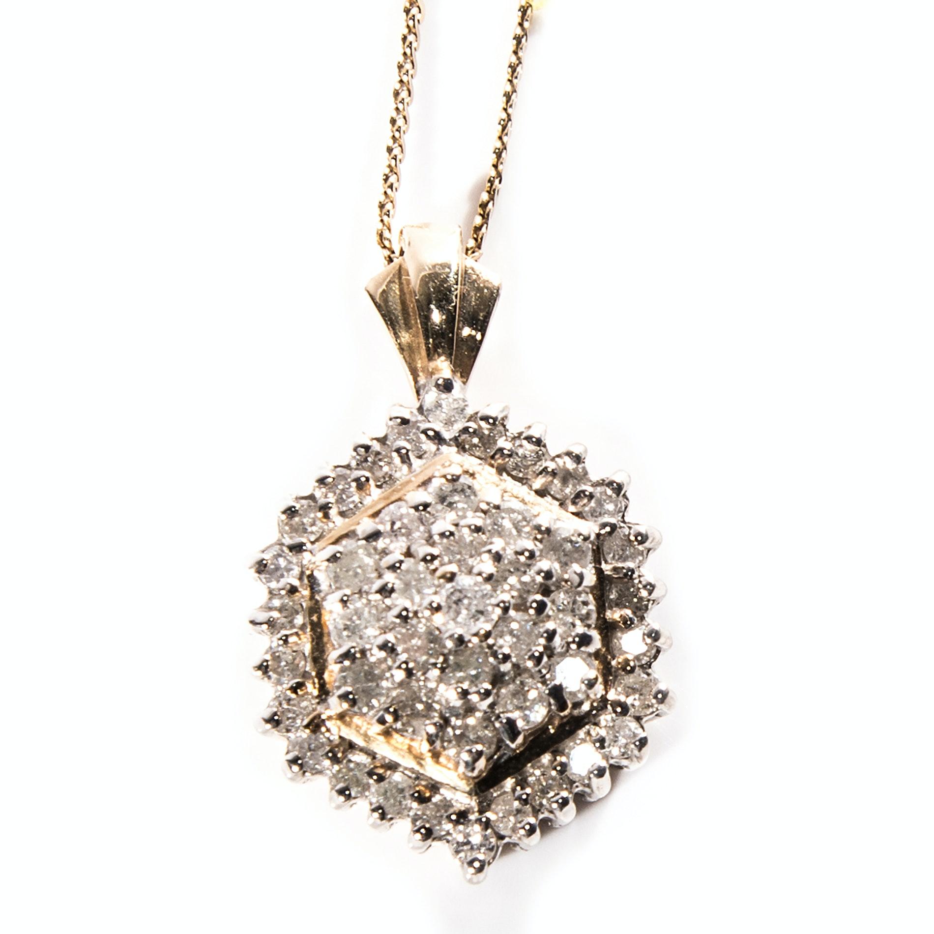 14K Gold and 1.06 CTW Diamond Cluster Pendant