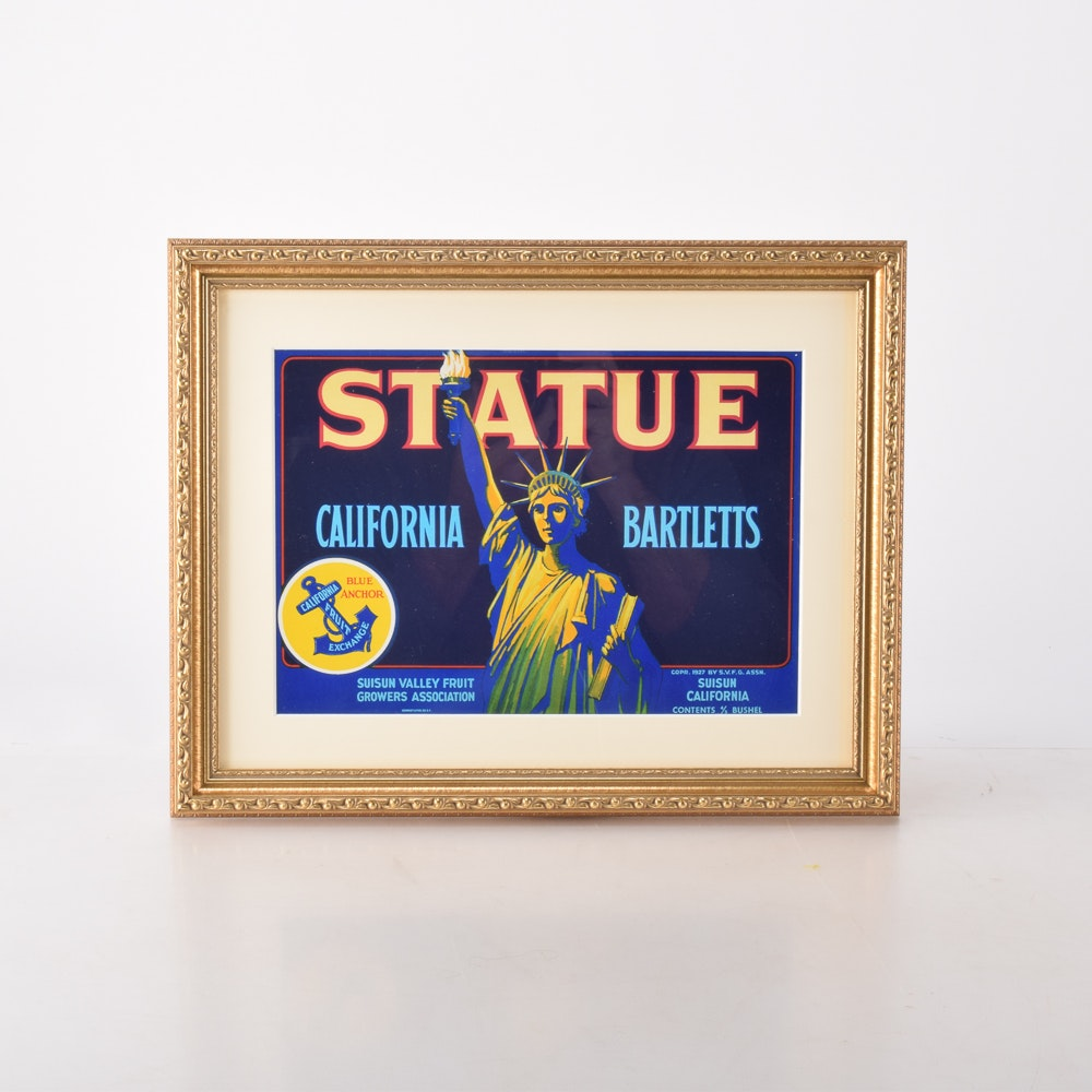"""1927 Fruit Crate Label """"Statue California Bartletts"""""""