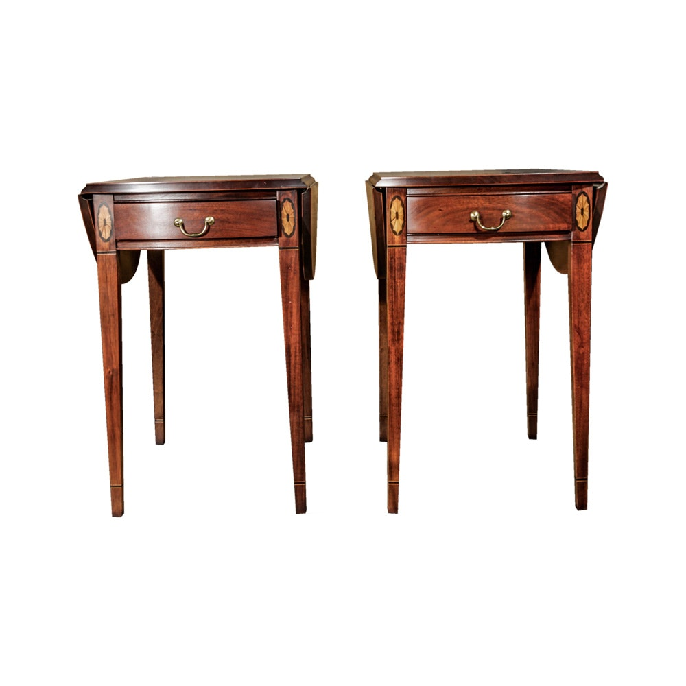 Hickory Chair Company Federal Style Maple Drop Leaf Side Tables