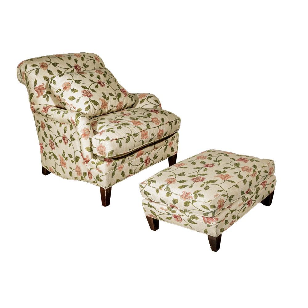 Floral Lounge Chair & Ottoman