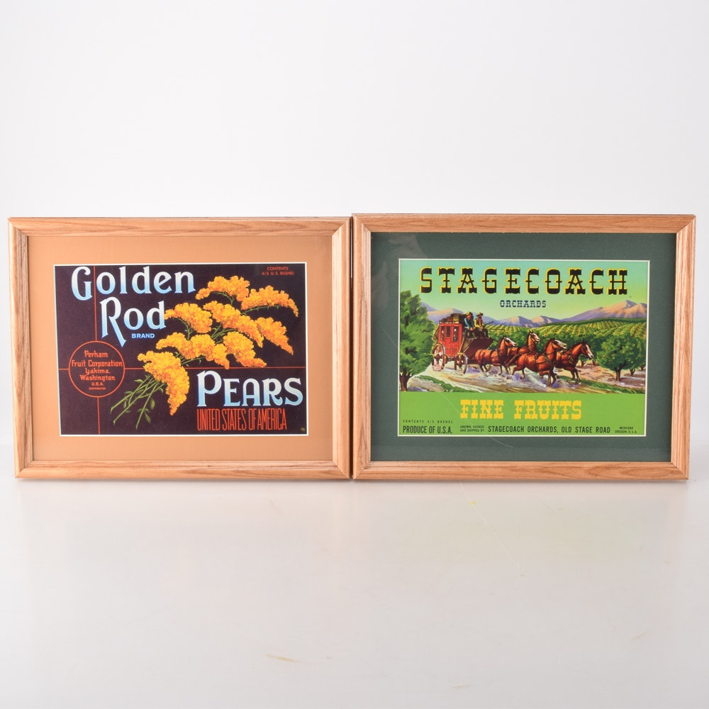 """Vintage Fruit Crate Labels """"Goldenrod Pears"""" and """"Stagecoach Orchards"""""""