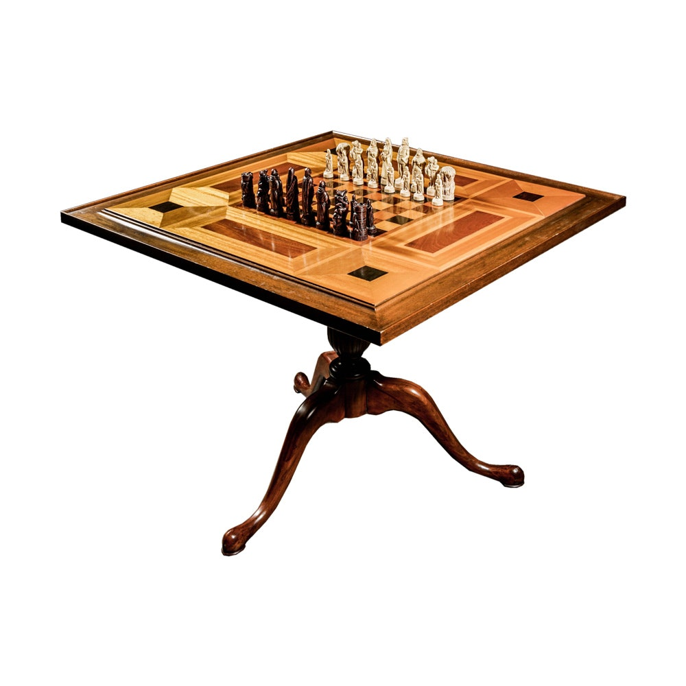 Early 20th Century  Inlaid Wood Chess Table with Chess Pieces