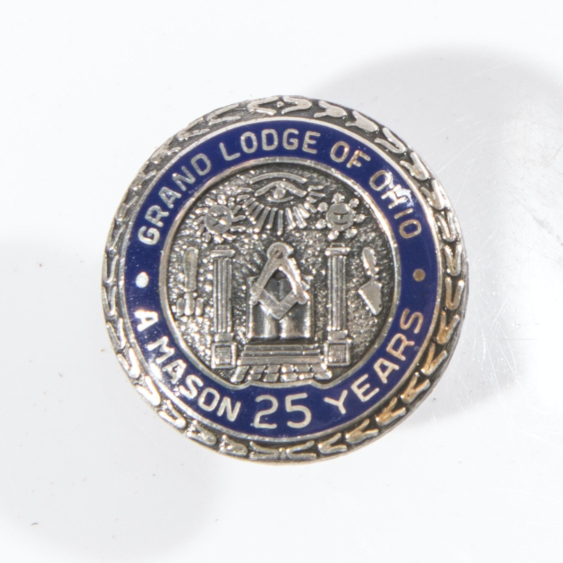 Sterling Silver 25-Year Masonic Pin