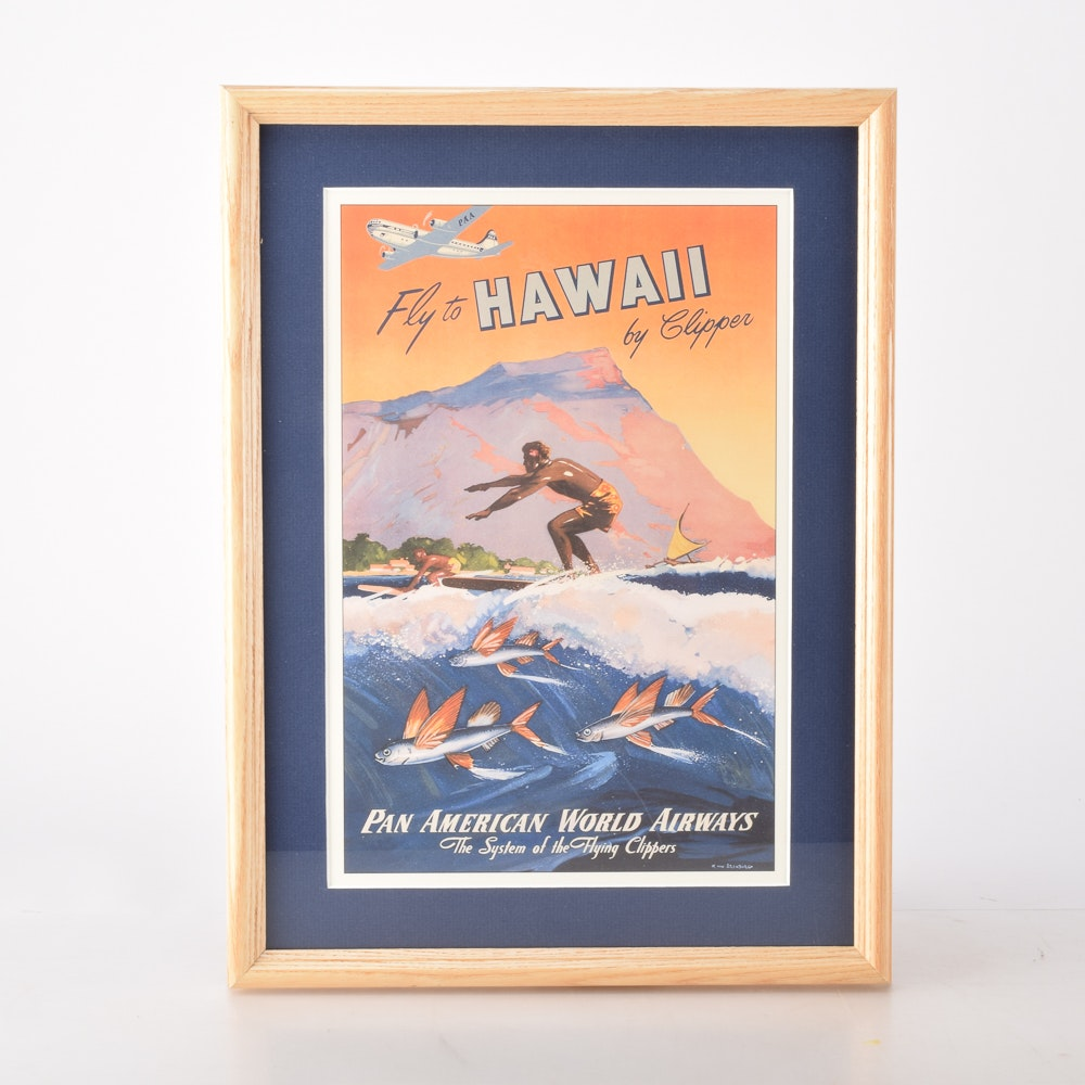 """Framed Offset Lithograph Reproduction of Vintage Travel Poster """"Pan American World Airways Clipper to Hawaii"""""""