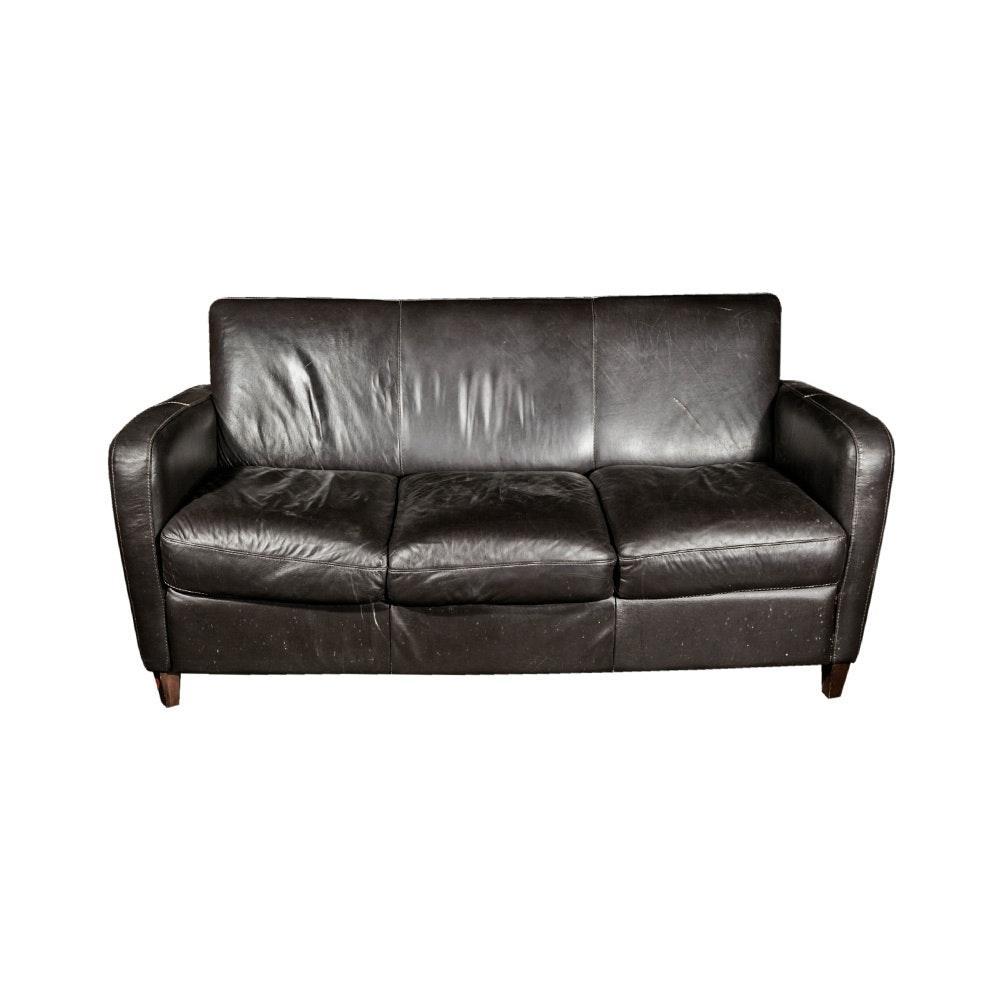 Contemporary Black Leather Sofa