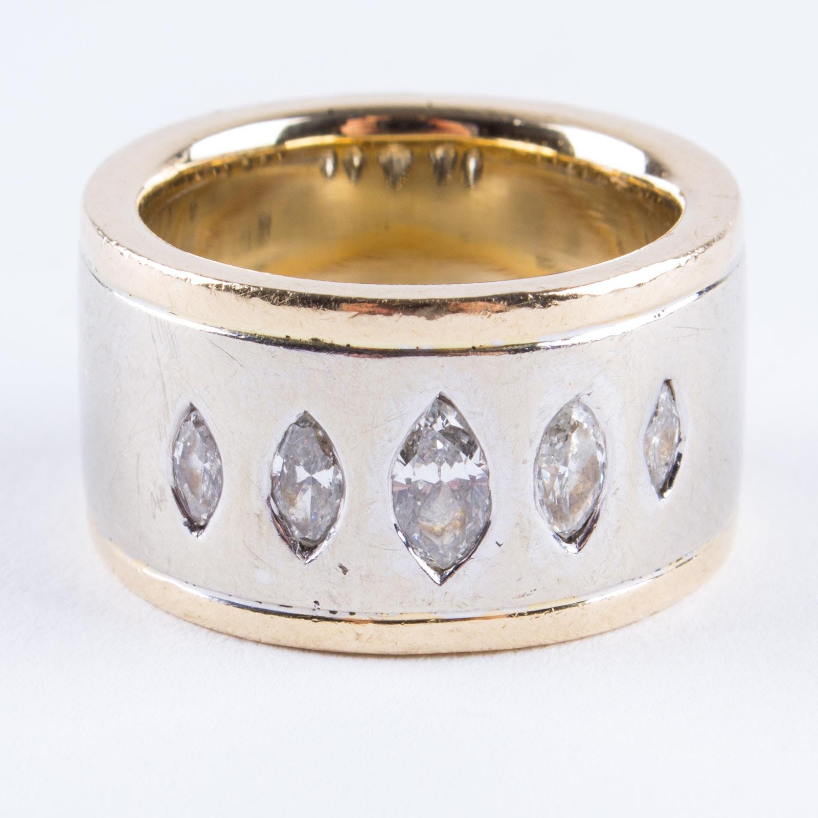 14K Yellow Gold Marquise Diamond Band