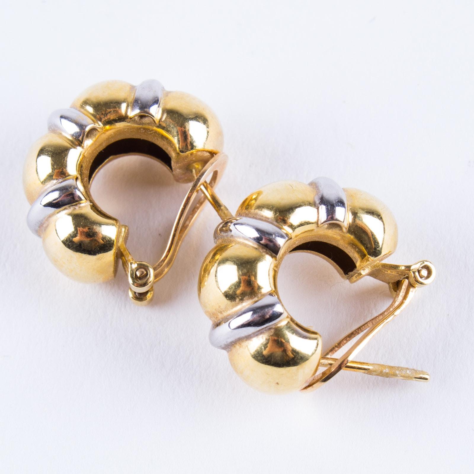 Two Tone 18K Gold Half Hoop Earrings
