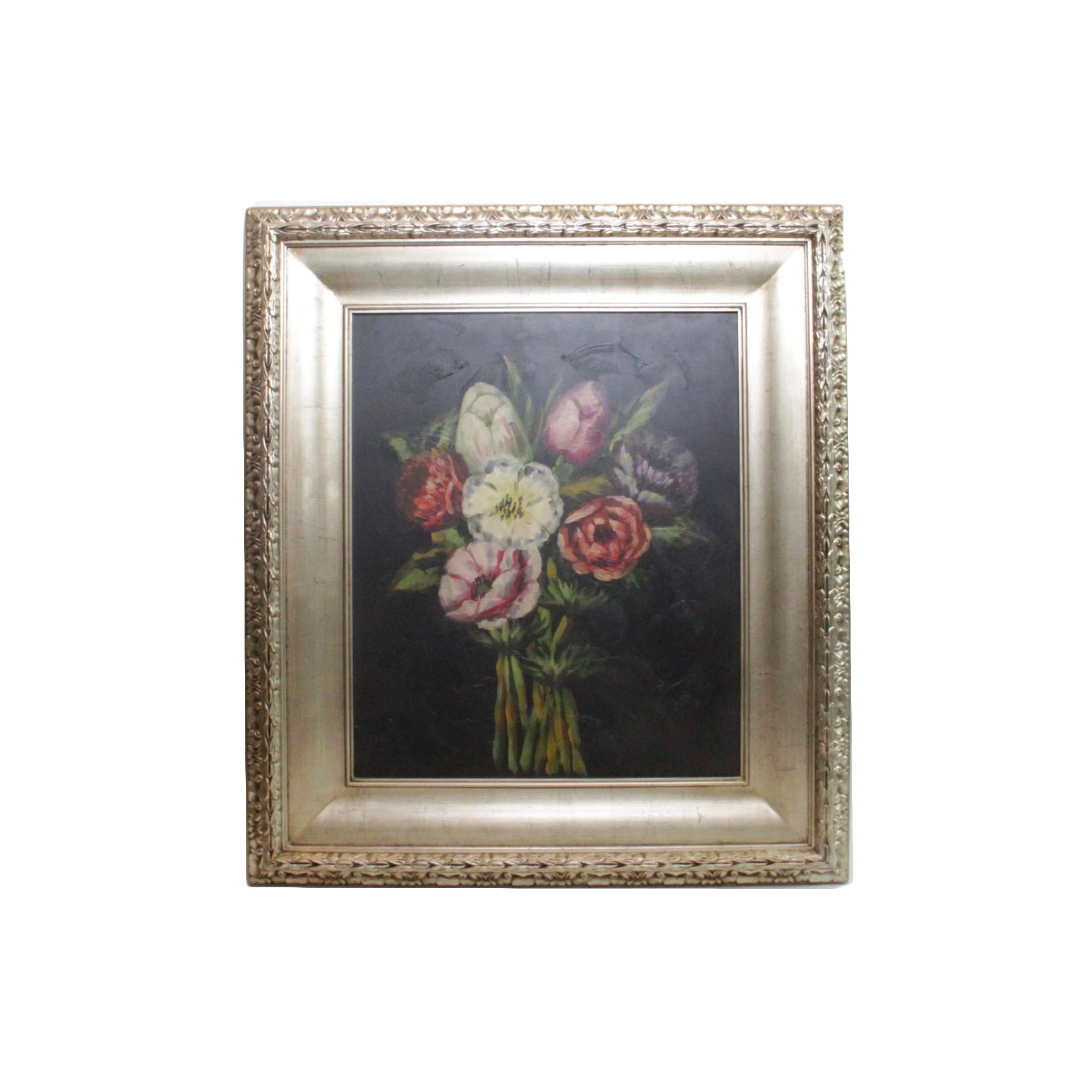 Oil Painting on Board of Flowers