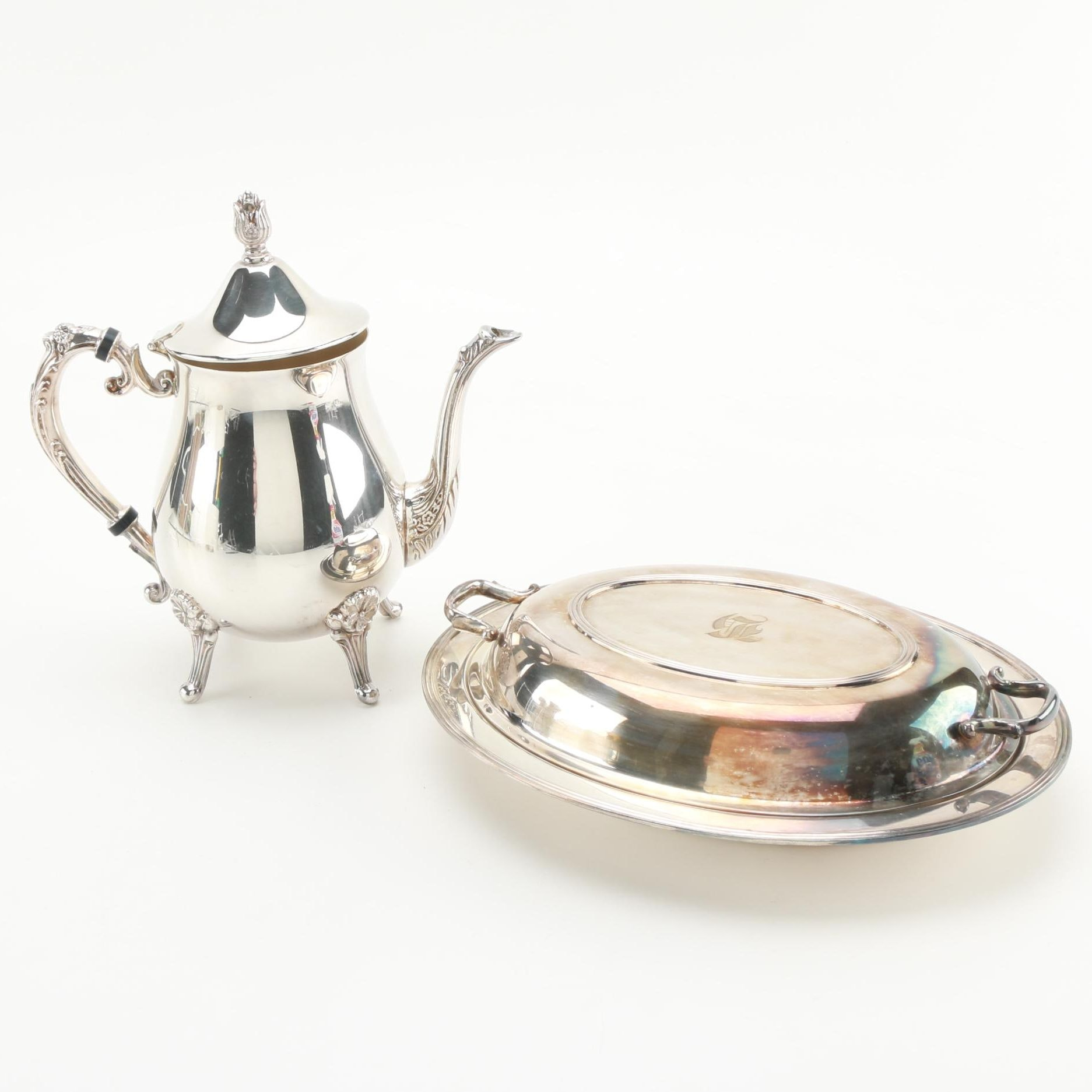 Silver Plat Lidded Serving Dish and Teapot