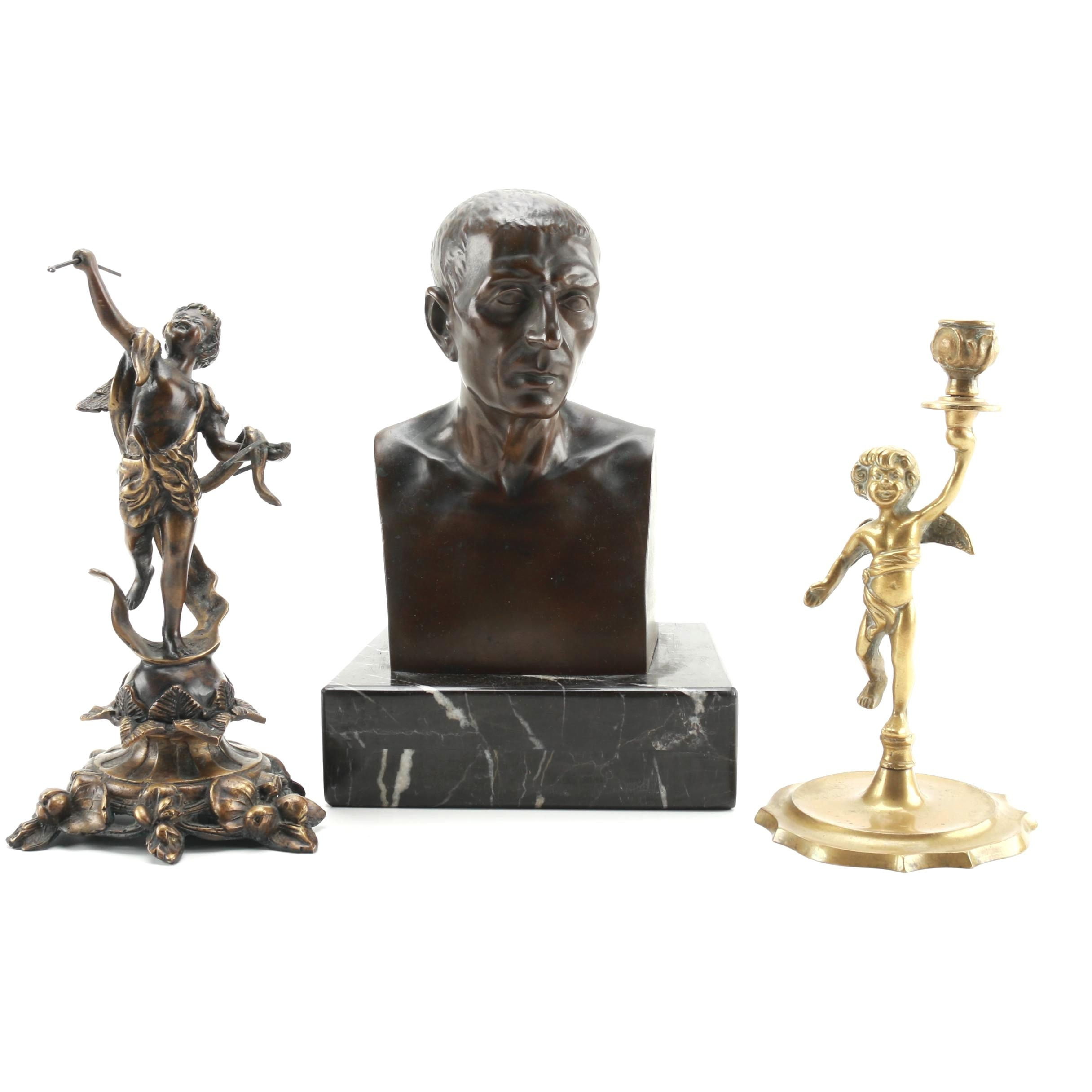 Ferdinand Barbedienne Foundry Bust and Two Putti Statuettes