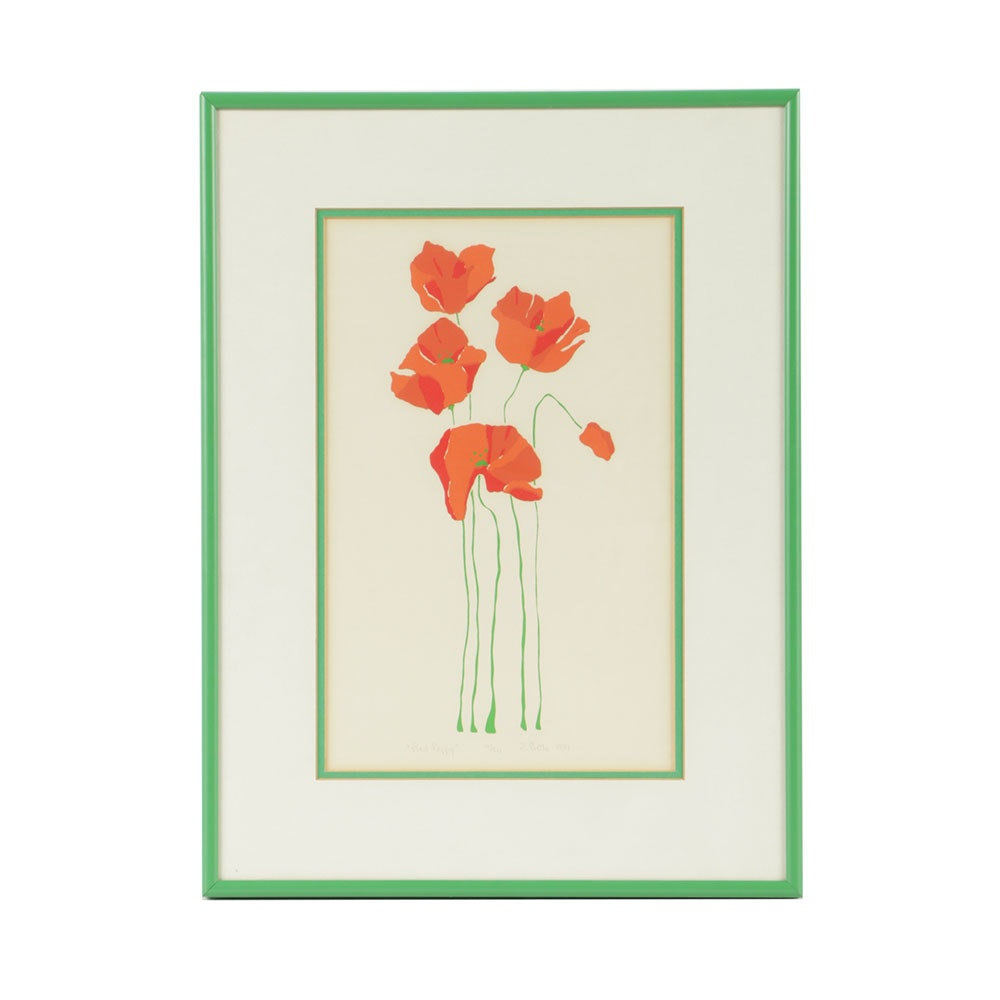 """Terri Gay Betts Limited Edition Serigraph on Paper """"Red Poppy"""""""