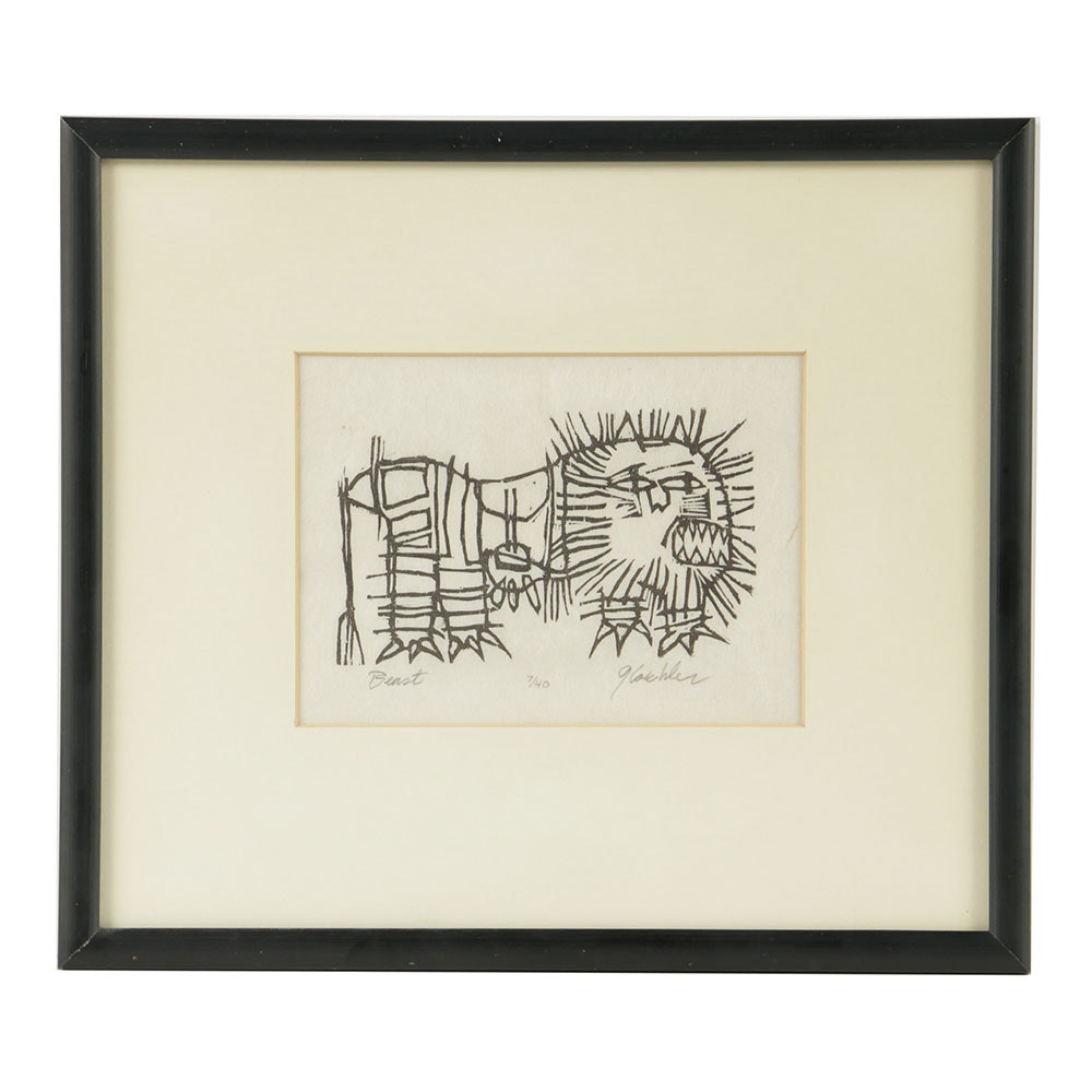 """Ray Gloeckler Signed Limited Edition Woodcut on Paper """"Beast"""""""