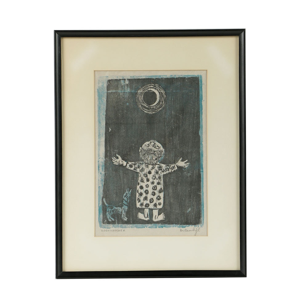 "Helen Siegl Woodcut Print on Paper ""Moonwatcher"""