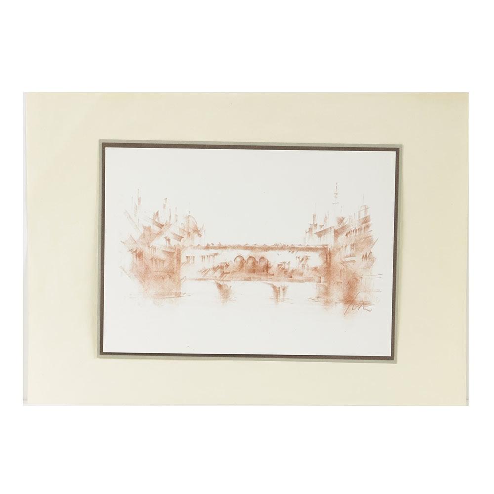 Conté Crayon Drawing on Paper of Ponte Vecchio Bridge