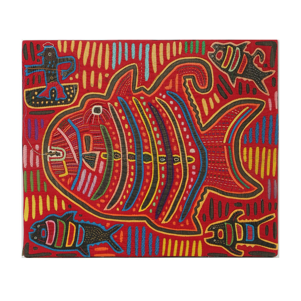 Mola Style Textile Art with Fishing Motif
