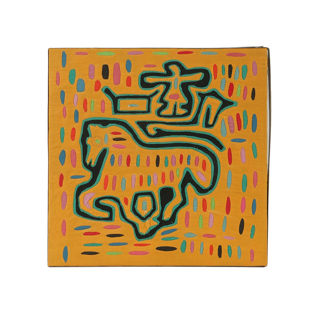 Mola Style Textile Art with Galloping Horse Motif