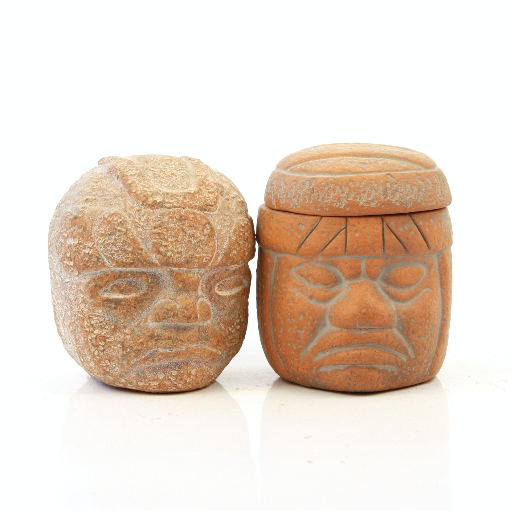 Pair of Pre-Columbian Chavin Style Terracotta Carved Heads
