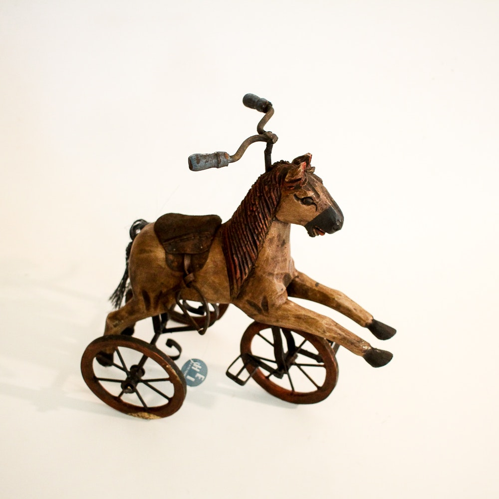 Antique-Style Wooden Horse Tricycle