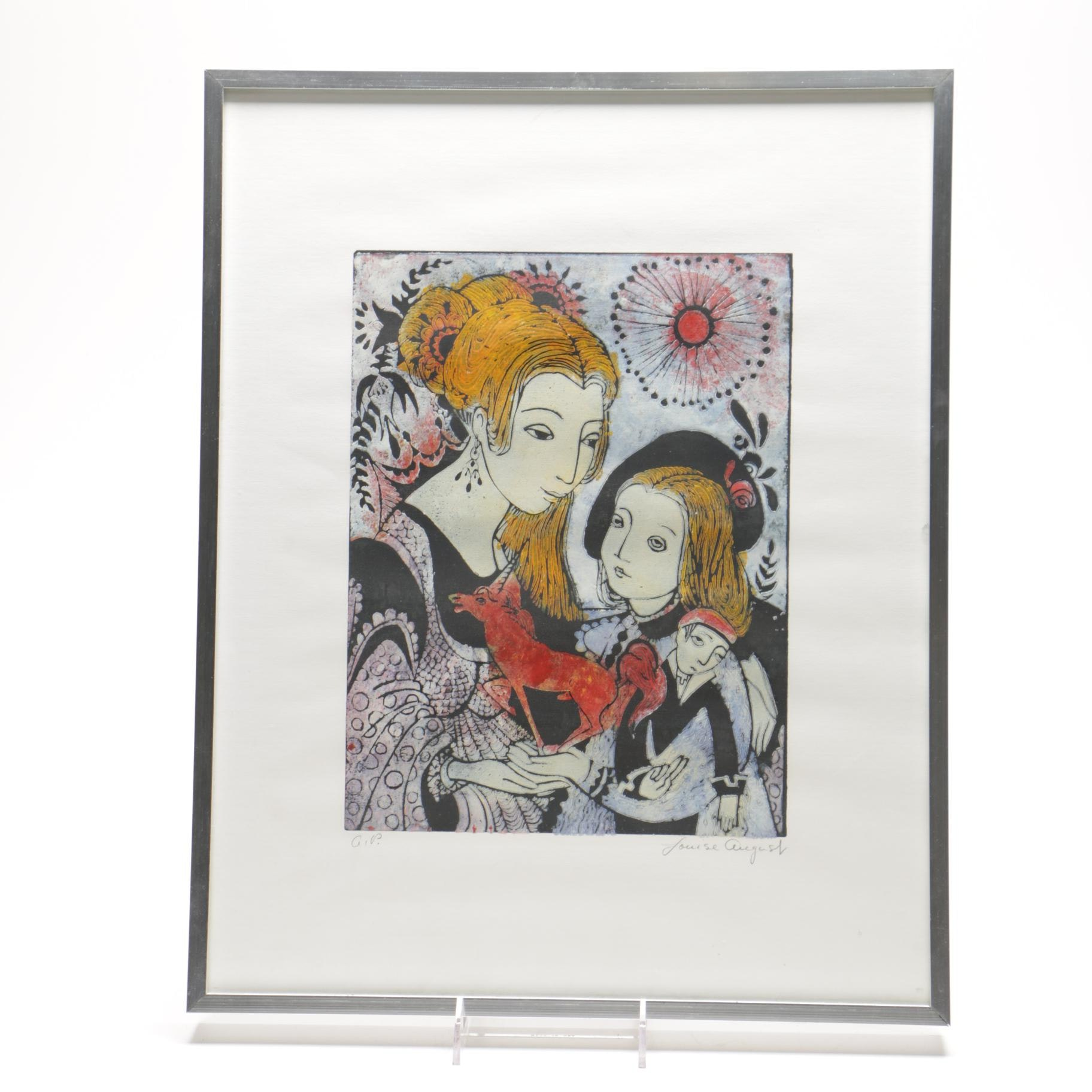 """Louise August Limited Edition Lino Block Print """"The Gift"""""""