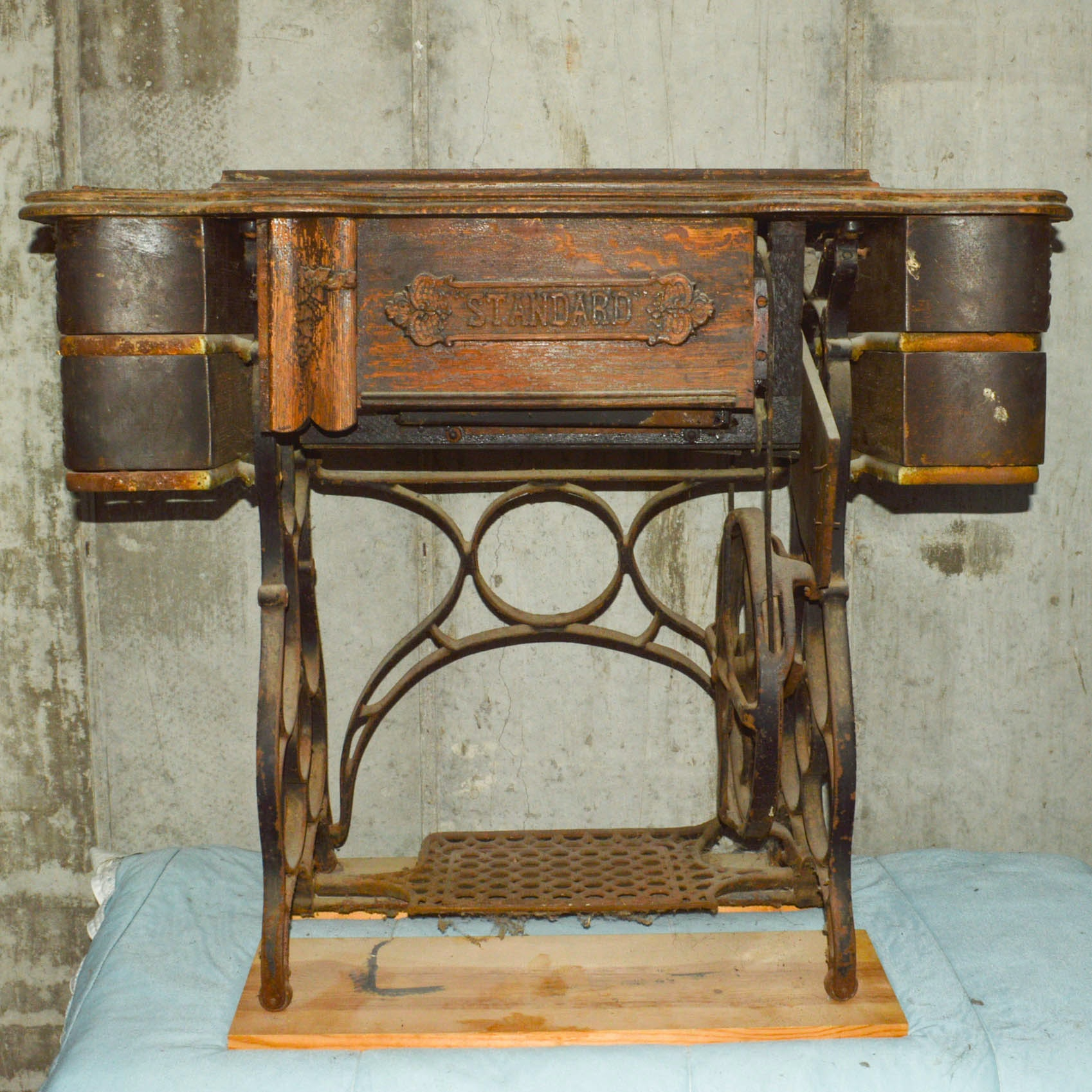 Antique Sewing Table With Cast Iron Base by Standard