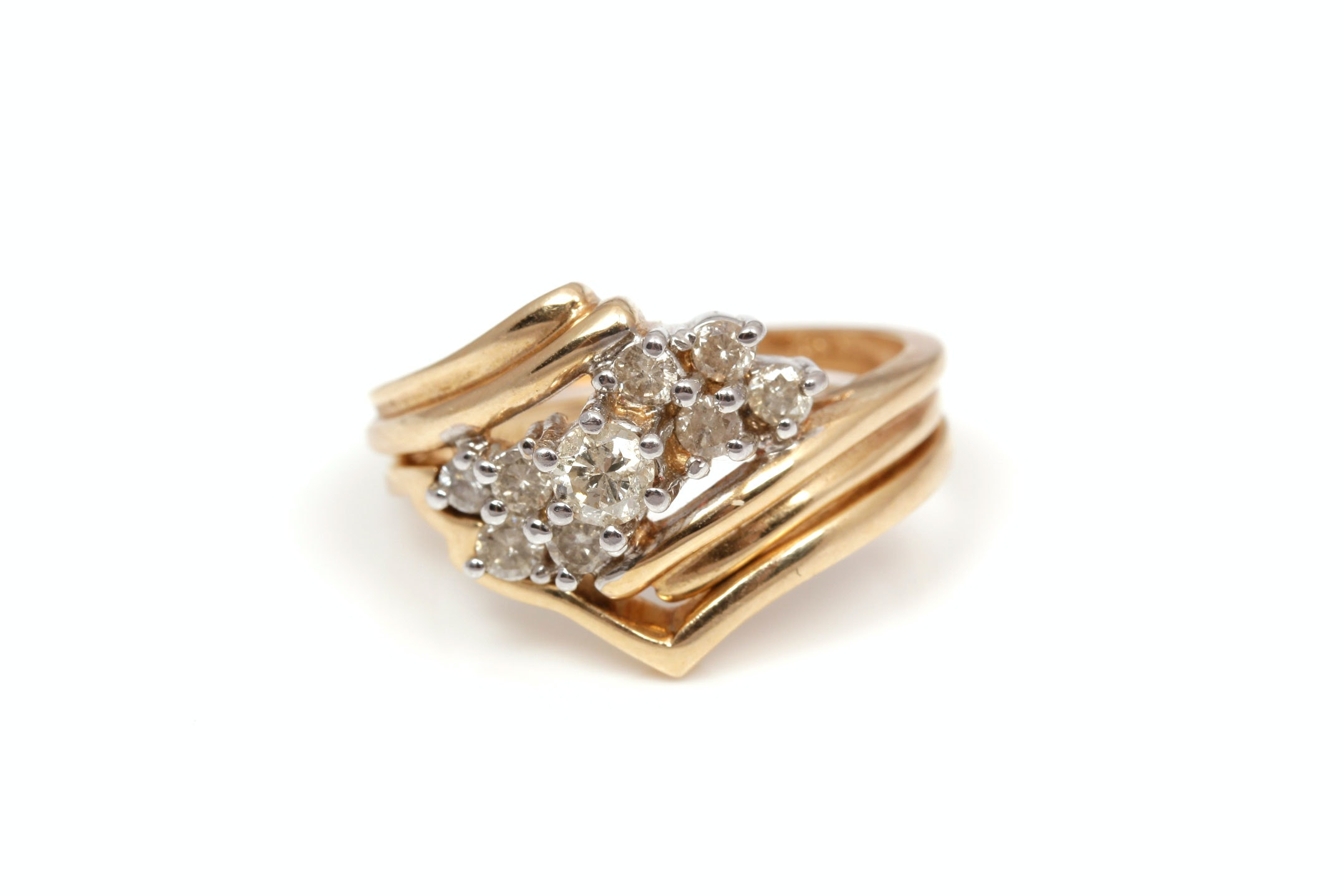 14K Yellow Gold 0.50 CTW Diamond Ring and Band