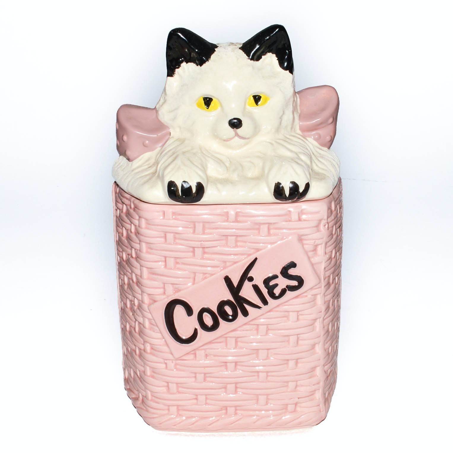 Vintage McCoy White Cat in Pink Basket Cookie Jar