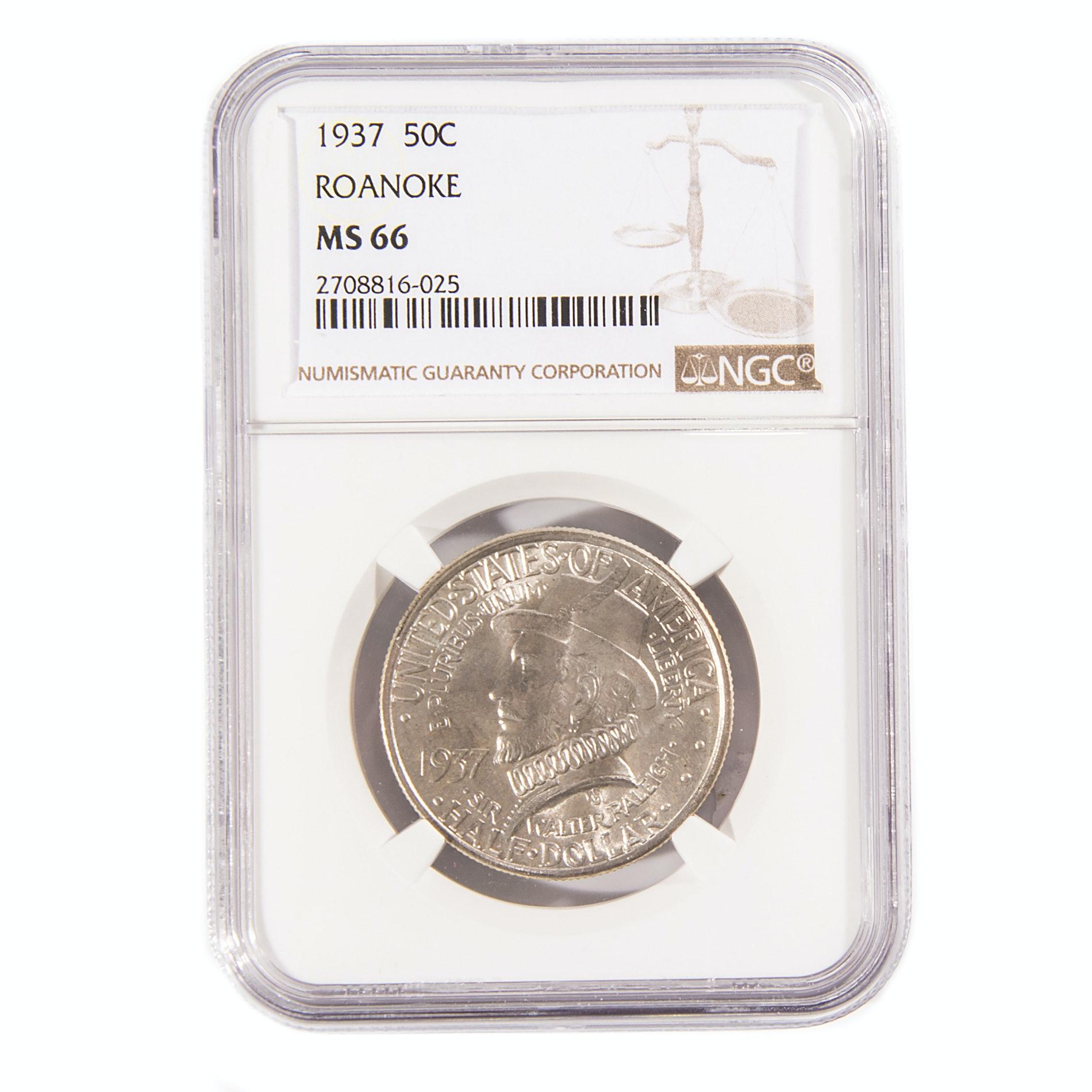 Graded MS 66 (By NGC) 1937 Roanoke Commemorative Silver Half Dollar